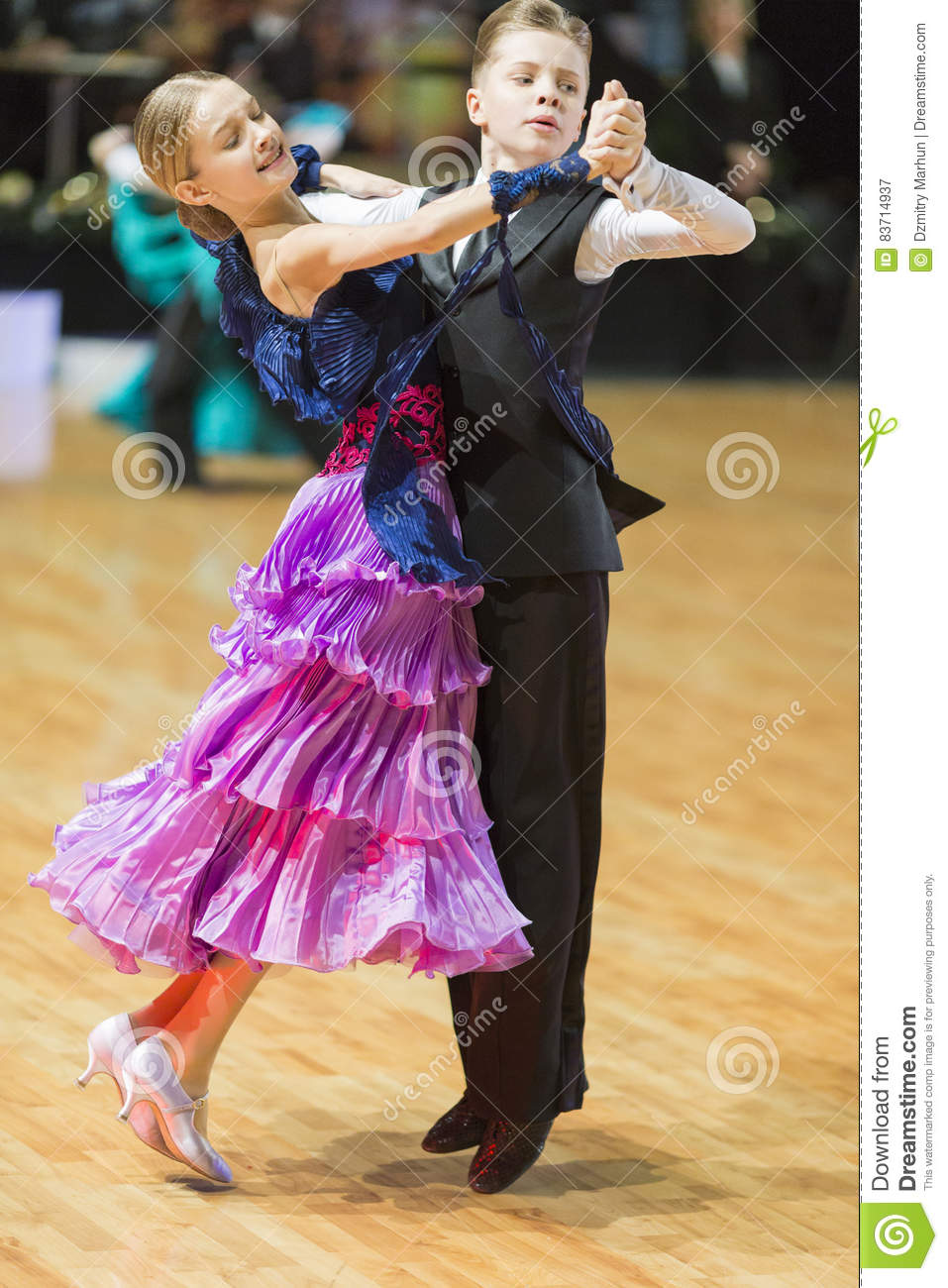 Unidentified Dance Couple Performs Juvenile-1 Standard European Program On The WDSF Baltic Grand Prix-2106 Editorial Photography