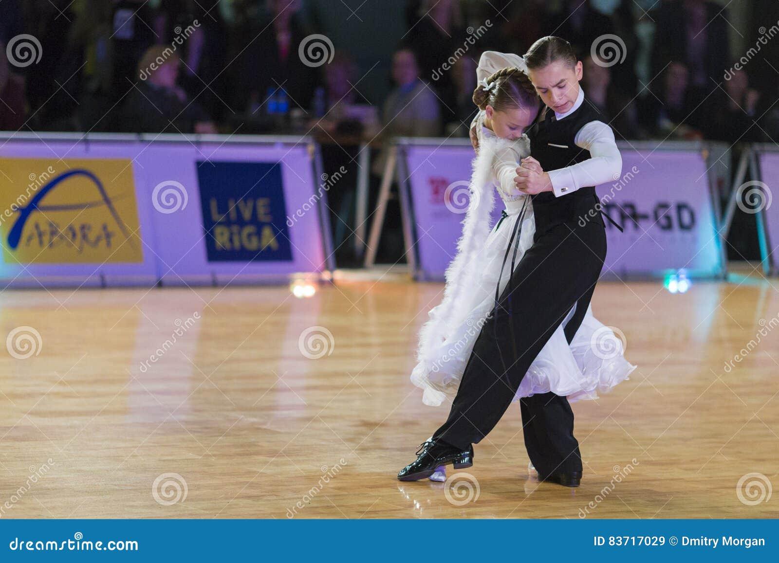 Unidentified Dance Couple Performs Juvenile-1 Standard European Program On The WDSF Baltic Grand Prix-2106 Editorial Stock Image