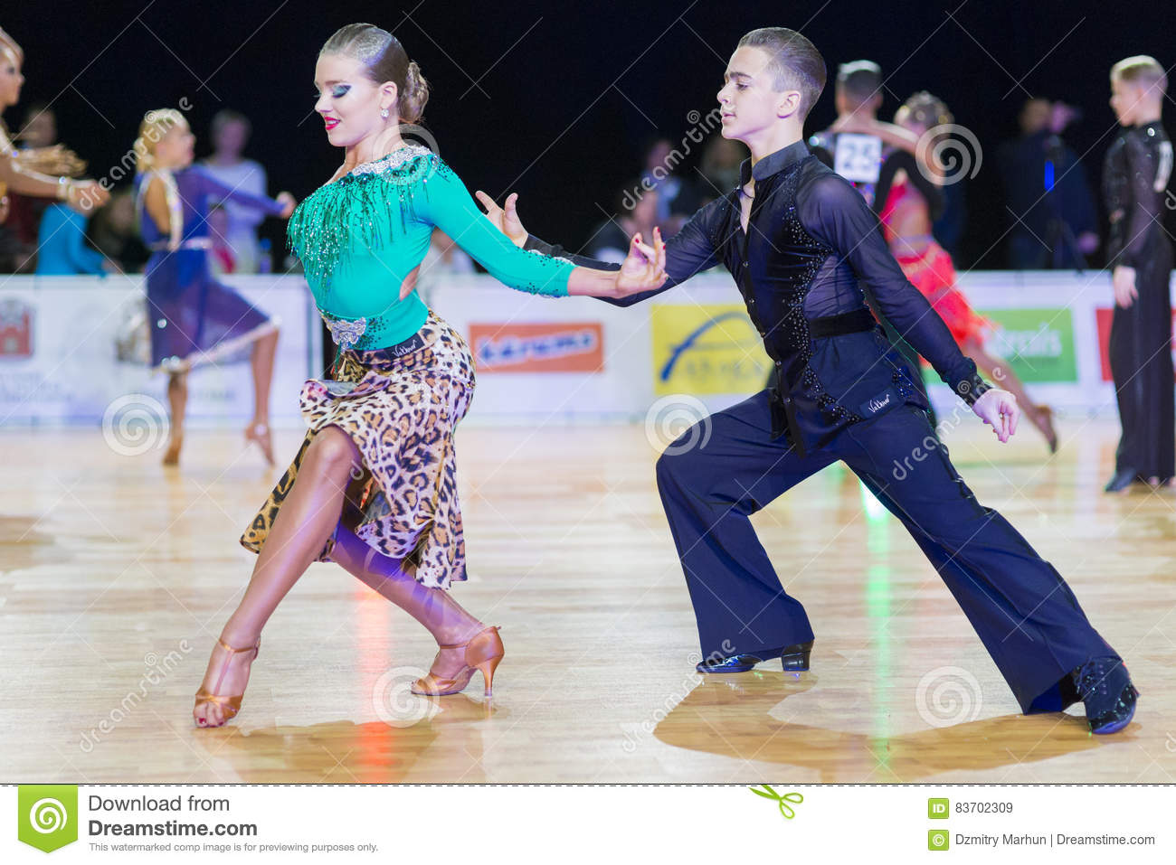 Unidentified Dance Couple Performs Youth-2 Latin-American Program On The WDSF Baltic Grand Prix-2106 Championship Editorial Stock Image