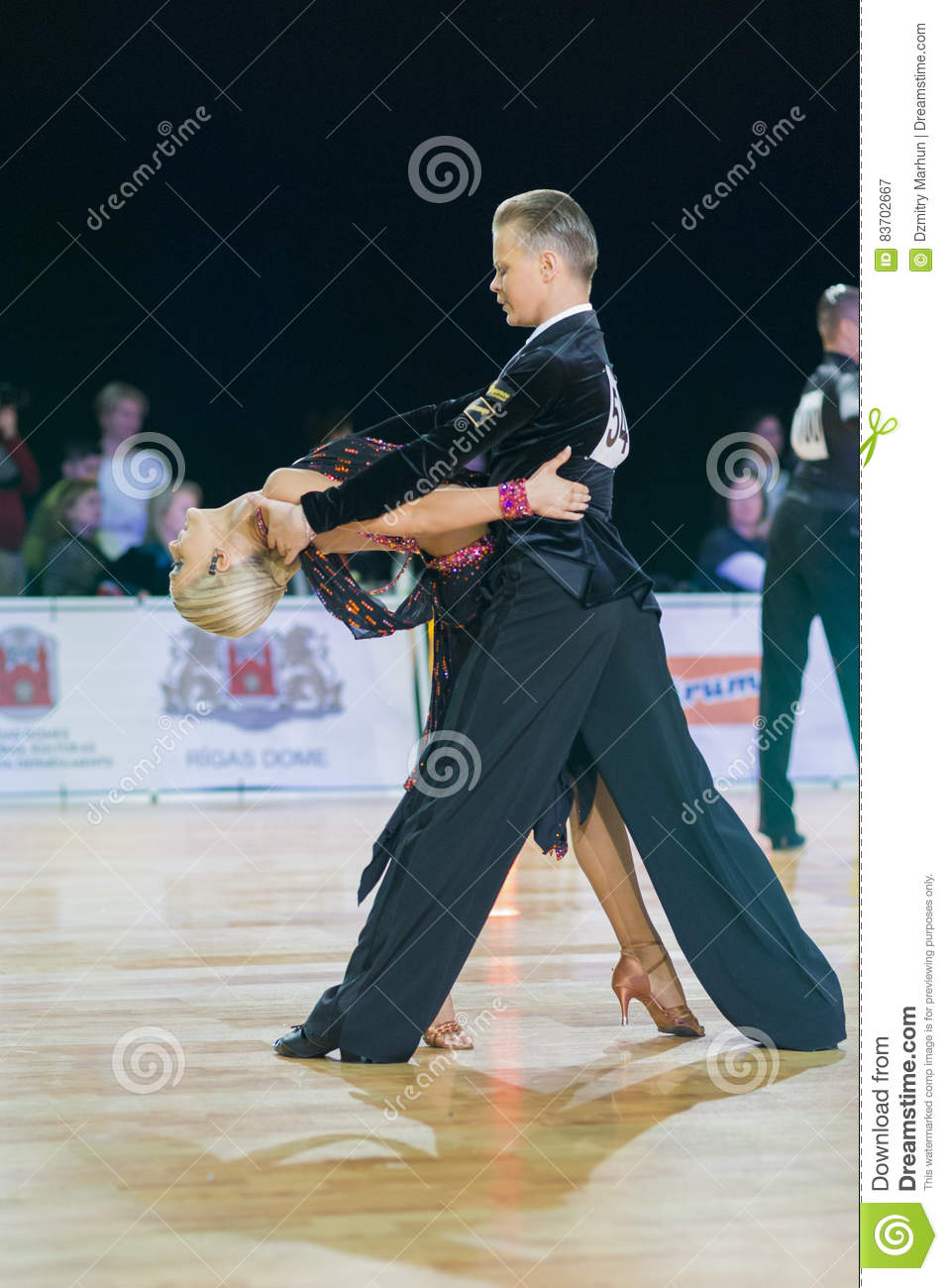 Unidentified Dance Couple Performs Youth-2 Latin-American Program On The WDSF Baltic Grand Prix-2106 Championship Editorial Photography