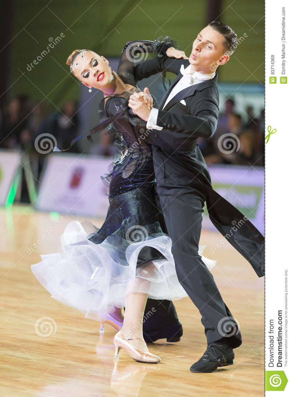 Unidentified Dance Couple Performs Youth Standard European Program On The WDSF Baltic Grand Prix-2106 Championship Editorial Stock Image