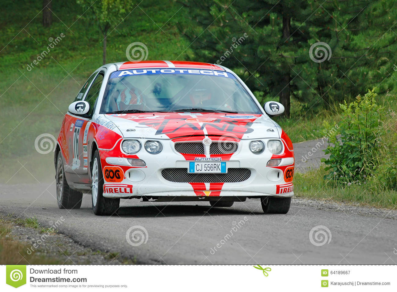Unidentified Drivers On A White And Red Vintage MG ZR Racing Car ...