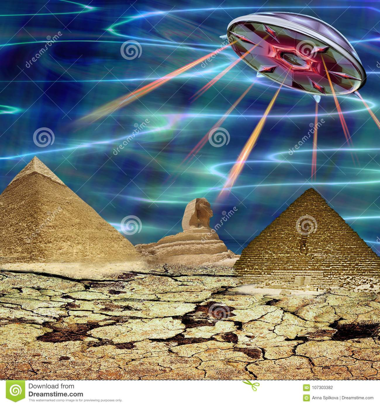 Unidentified flying object landing in a cracked landscape. Unknown object flying over pyramids and sphinx. 3d illustration
