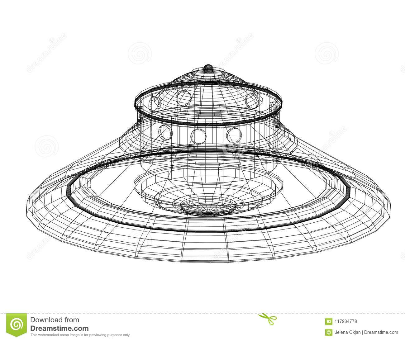 Download Unidentified Flying Object - UFO Architect Blueprint - Isolated Stock Photo - Image of aircraft, geometry: 117934778