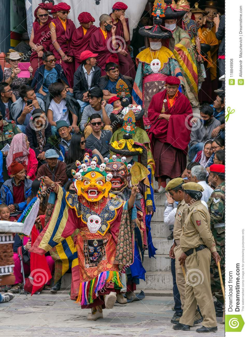 b679182c7 Leh, India - June 21, 2017: Unidentified monks in mask performing a  religious masked and costumed mystery dance of Tibetan Buddhism during the  Buddhist ...