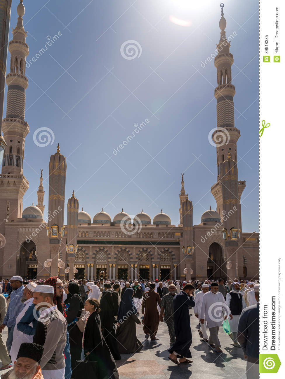 Unidentified People Go Out At The Nabawi Mosque, Saudi