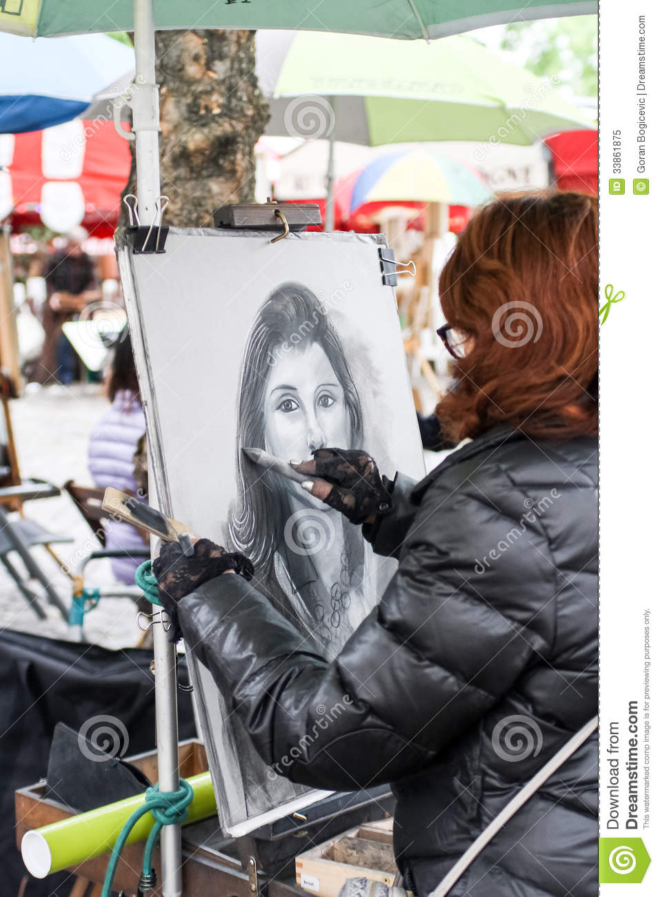 Unidentified Street Artist On Montmartre Editorial Image