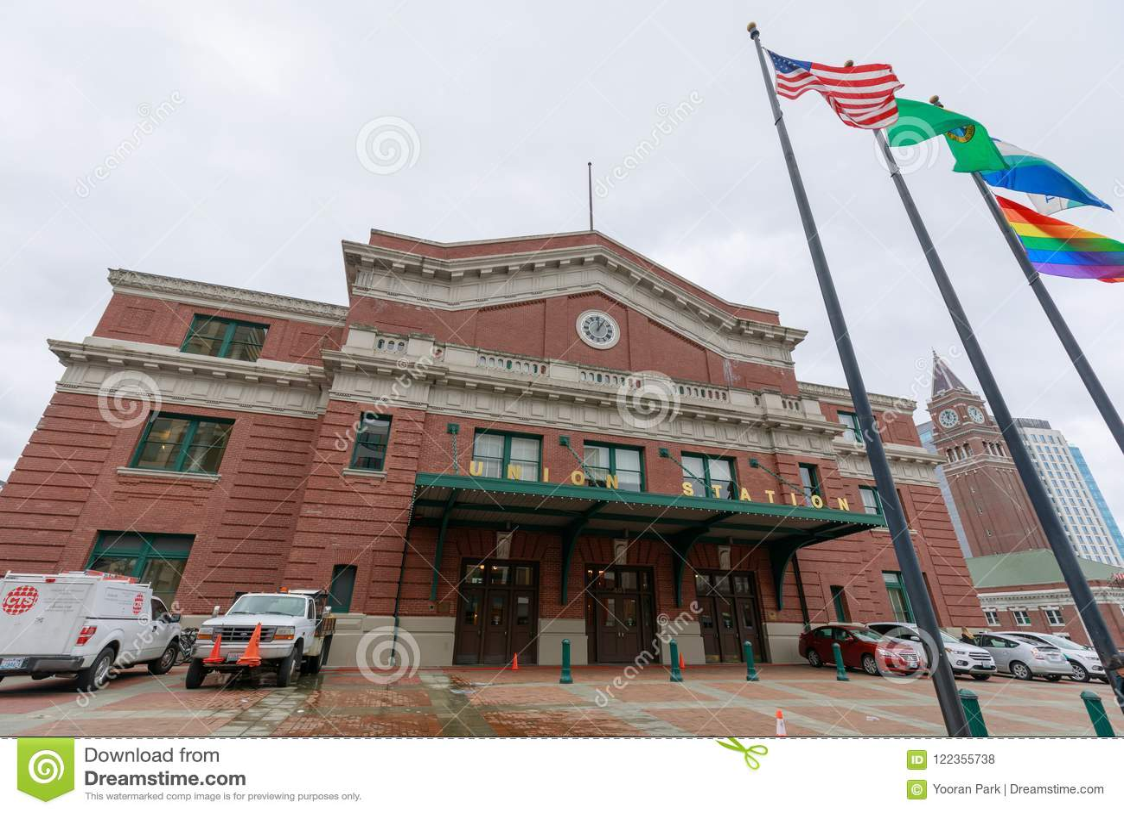 Unie Post, die een vroeger station in Seattle, Washington, de V.S. is