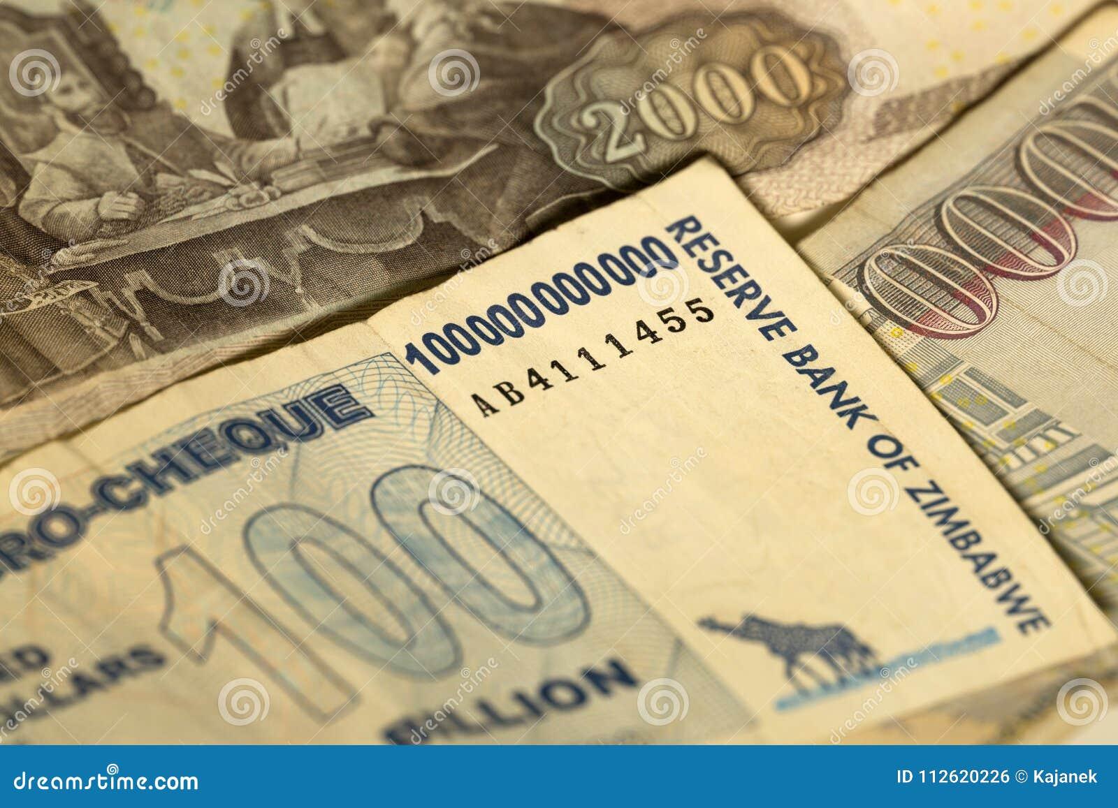Uniek hyperinflation van Zimbabwe Bankbiljet honderd miljard Dollars in het Detail, 2008