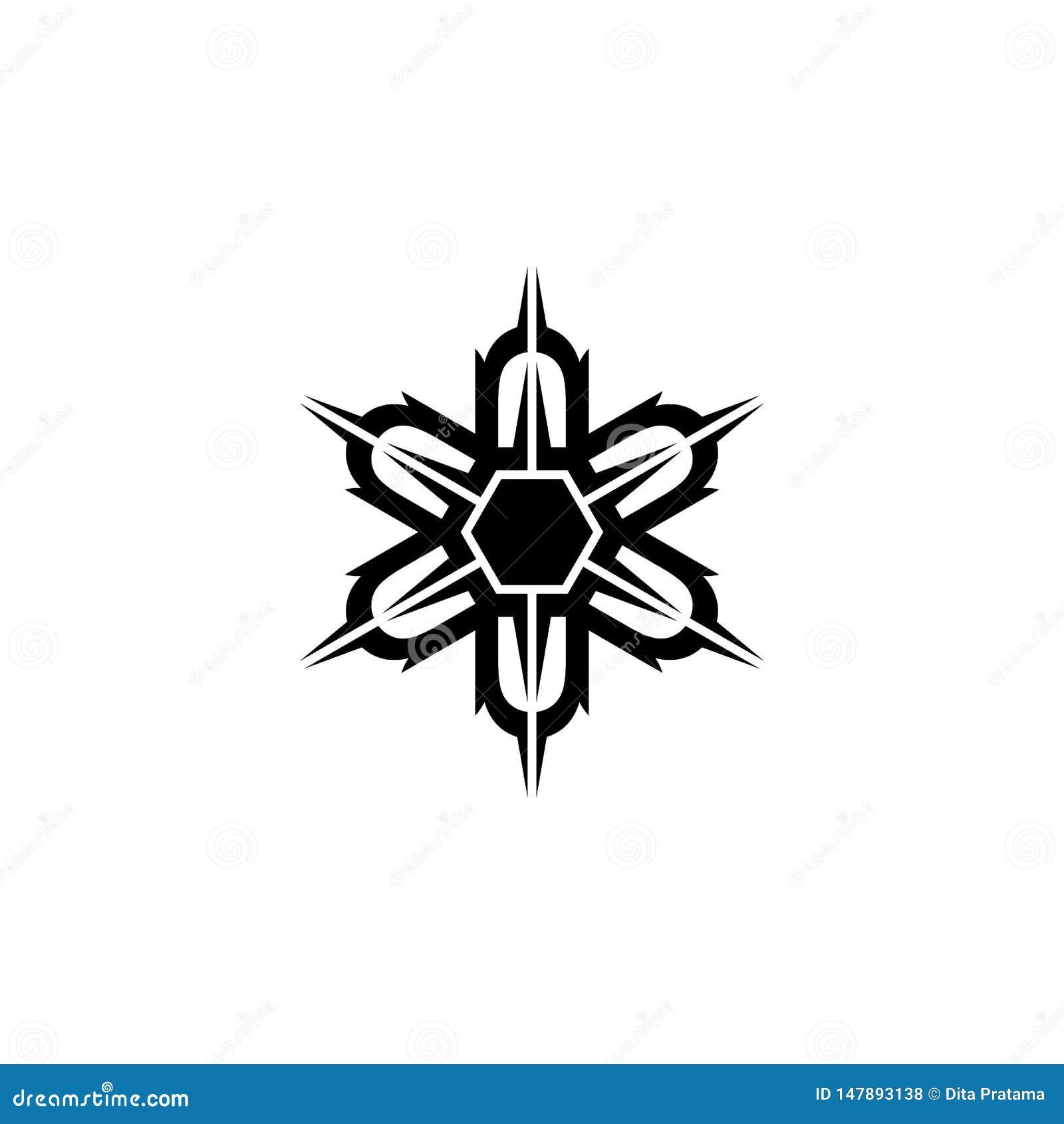 Uniek symmetrisch hexagonaal vormembleem