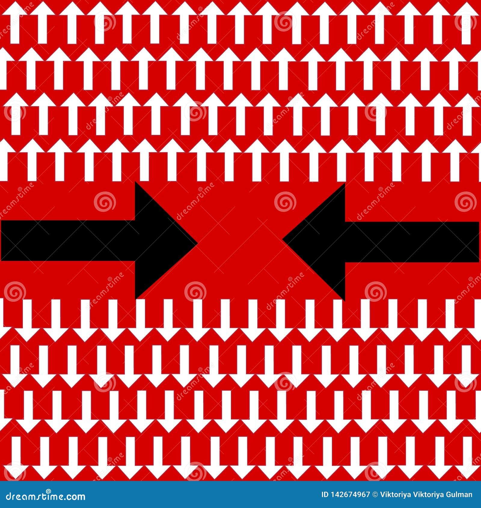 Unieke buigende zwarte pijl een andere richting en vele witte rechte degenen op rode achtergrond