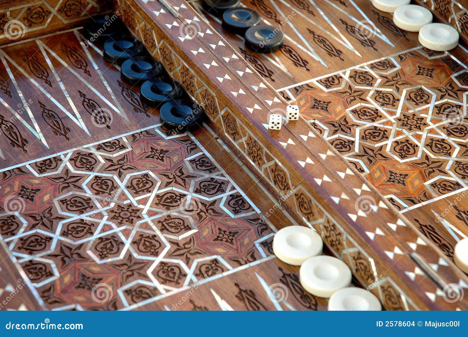 Unieke ingelegde backgammonraad