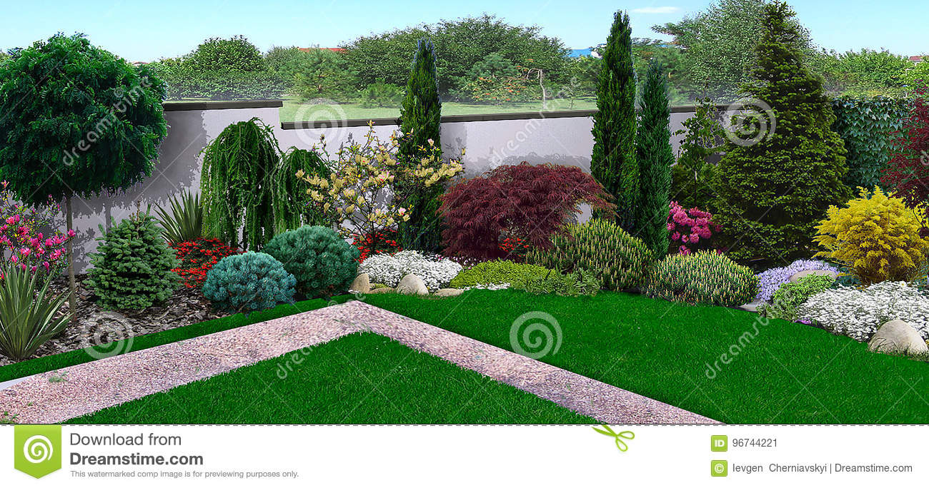 Unified Look Of Backyard, 3d Render Stock Illustration