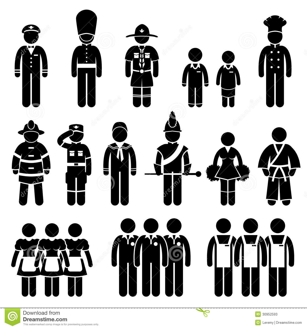 set of pictogram representing the outfit uniform of different kind ...