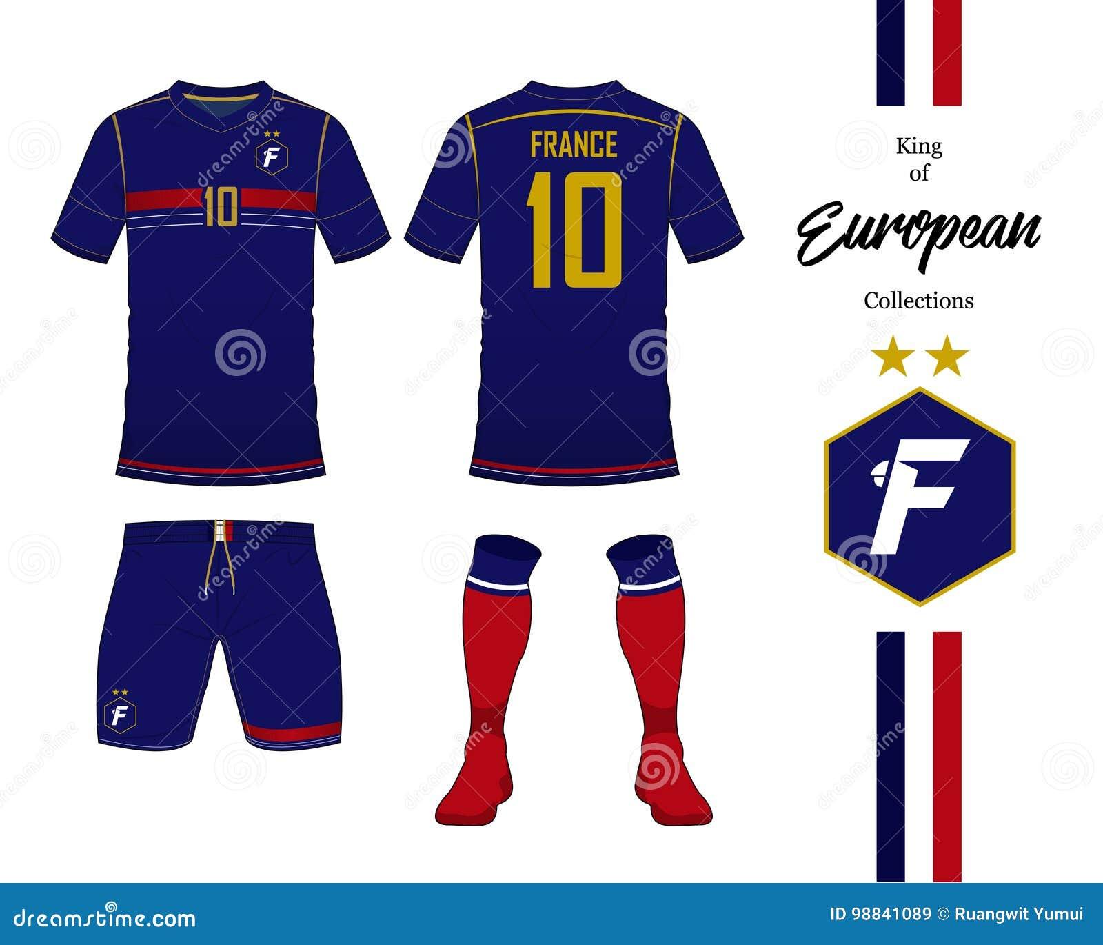 9f72bf76d1a9d Uniforme del equipo nacional del fútbol de Francia Jersey de fútbol o  plantilla del equipo del fútbol Logotipo del fútbol en diseño plano Mofa  delantera y ...