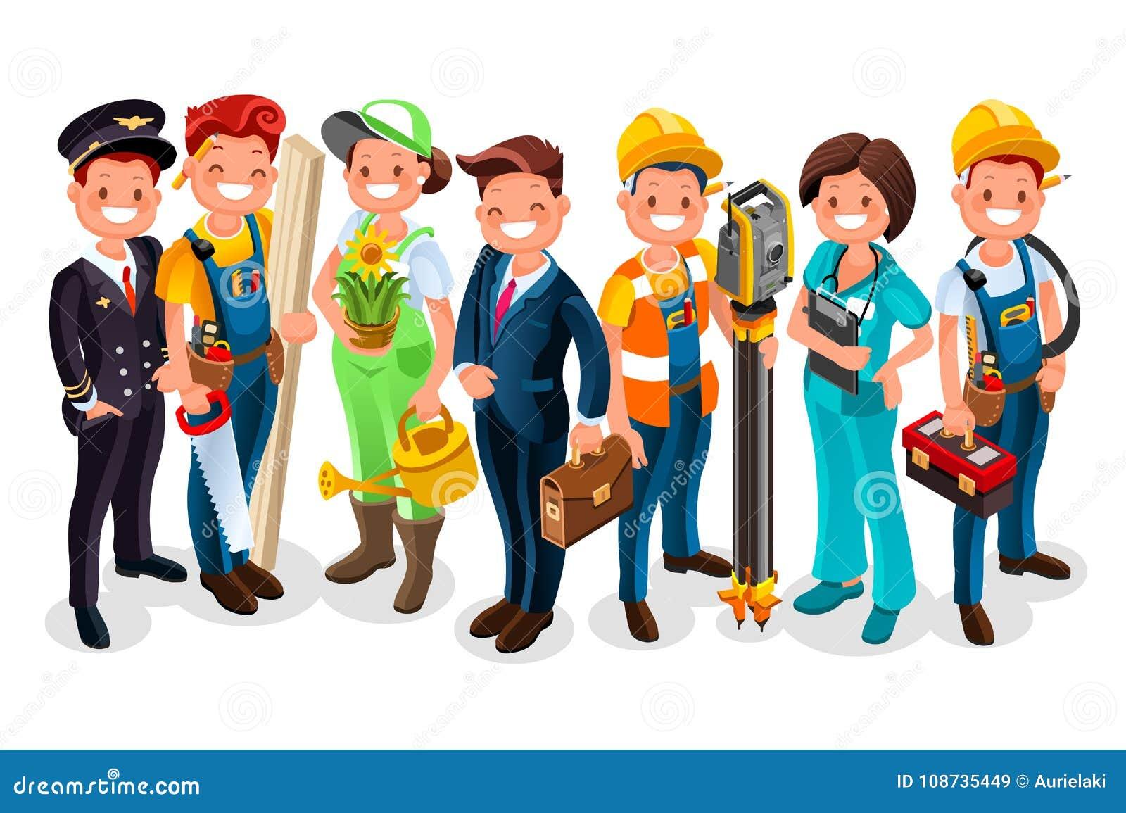 Uniforme Del Grupo Del Trabajador De Los Personajes De