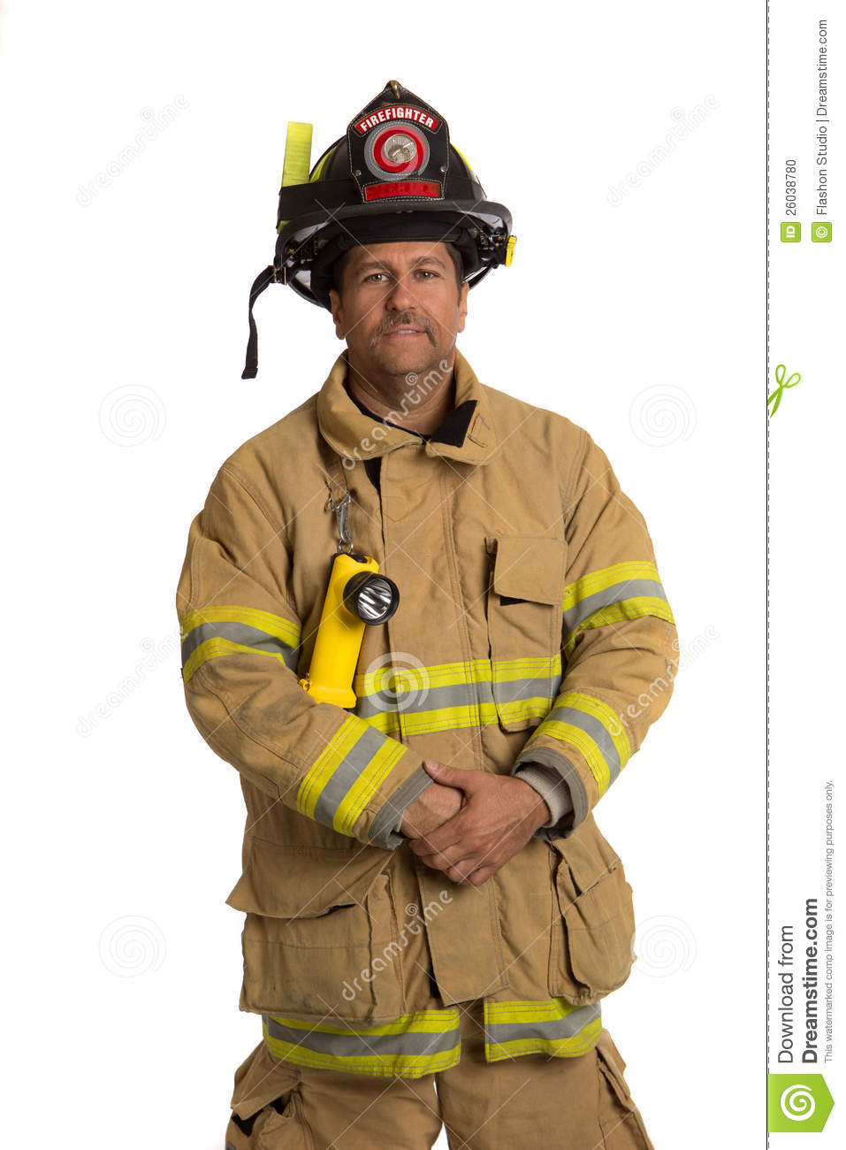 Serious looking confident firefighter standing portrait isolated on ...