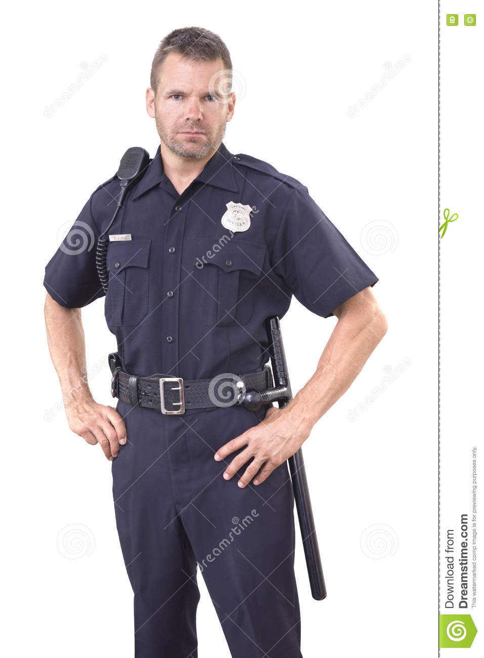 Uniformed Police Officer On White Background Stock Photo ...