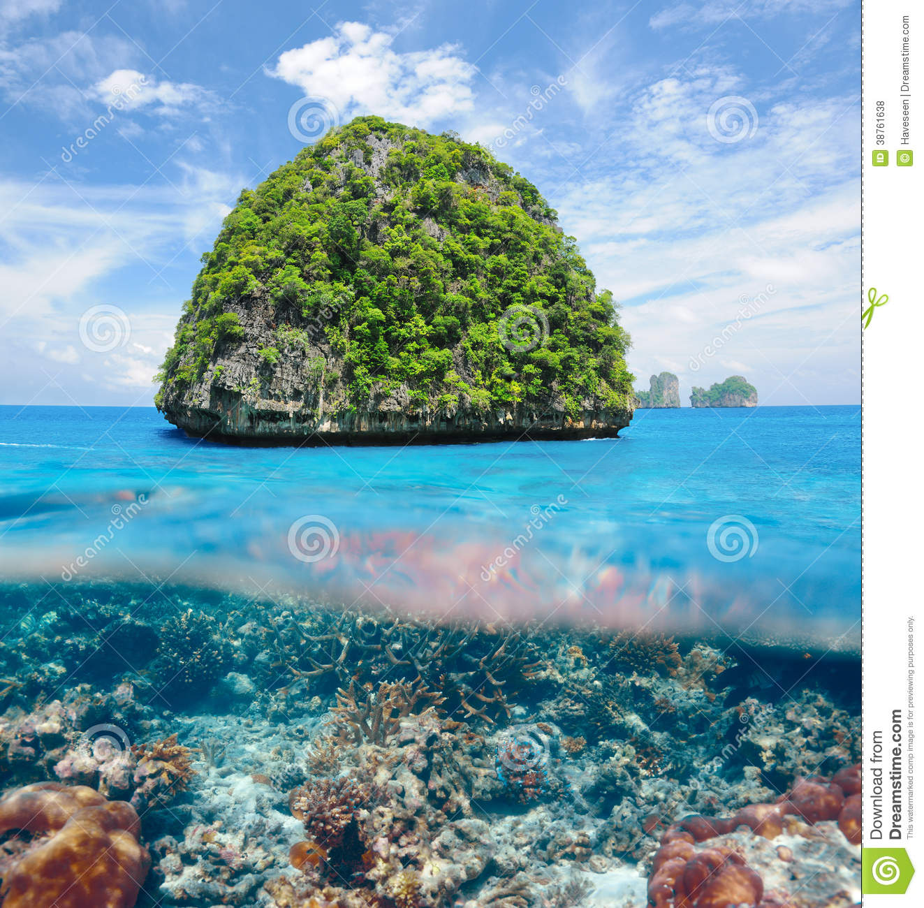 Uninhabited Island With Coral Reef Underwater View Royalty