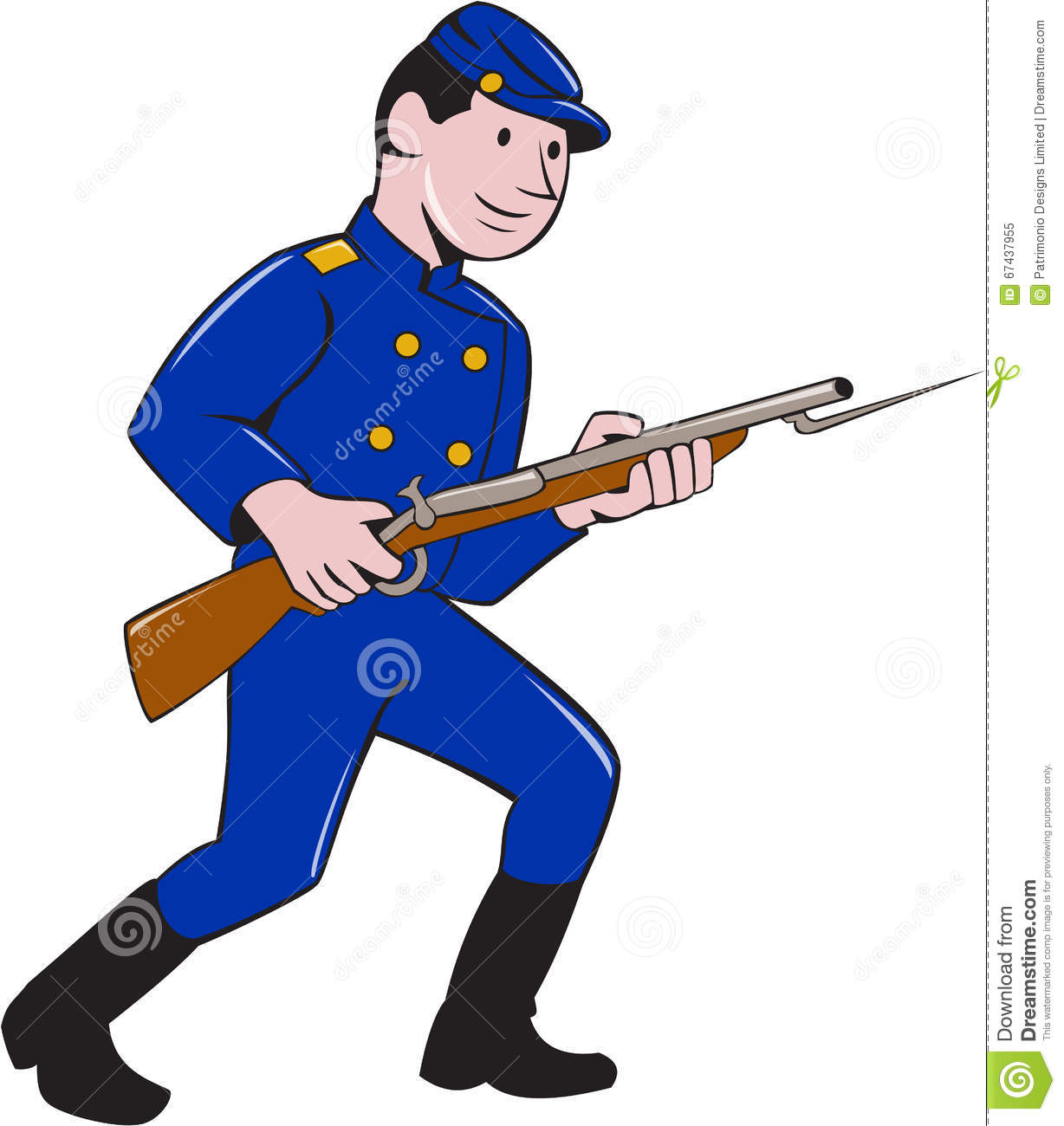 illustration of cartoon soldier with a rifle vector illustration