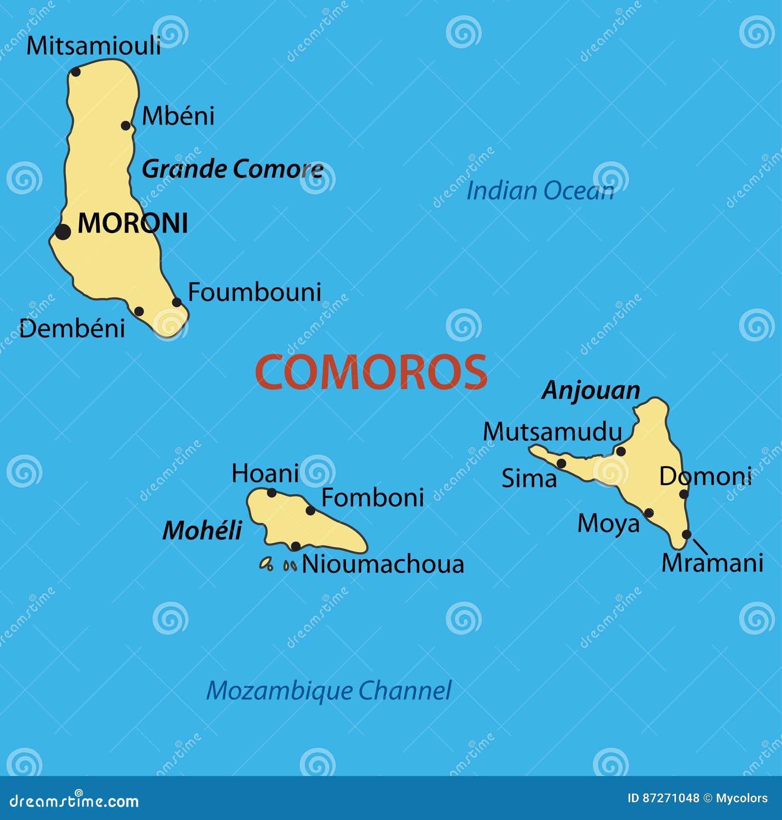 Union Of The Comoros Vector Map Stock Vector Image - Comoros map
