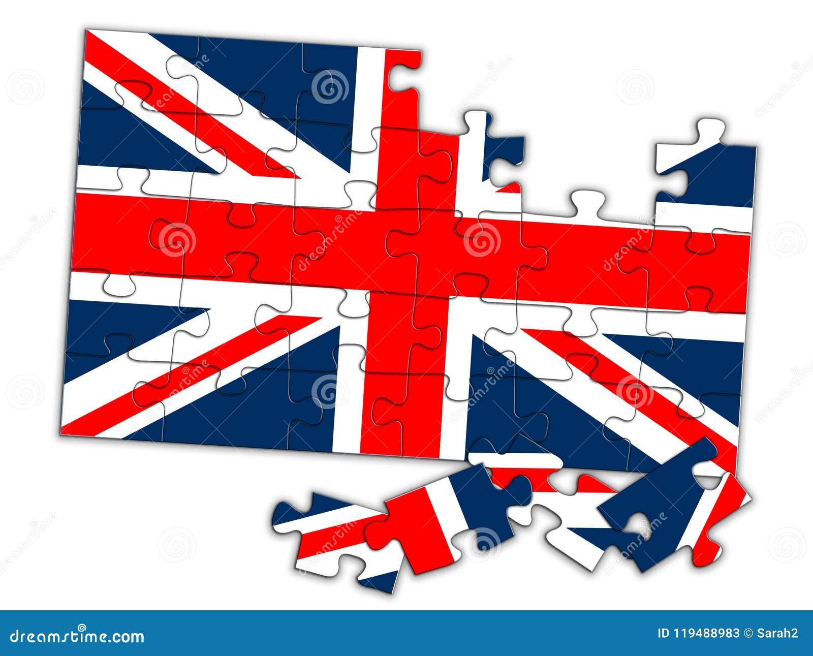 Union Jack łamigłówka, kawałki na miejscu UK flaga spada oddzielnie pojęcie