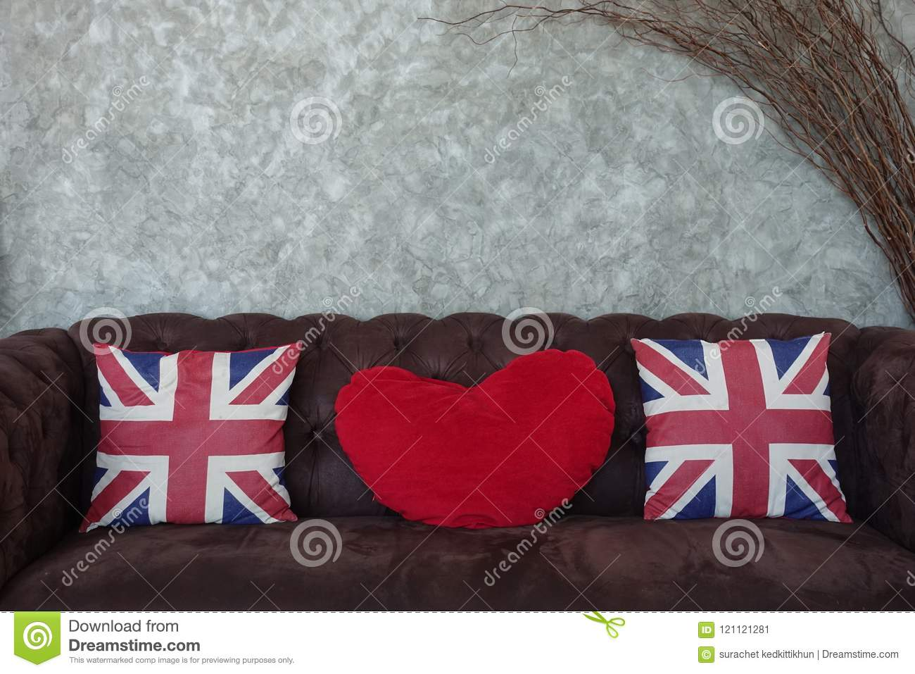 Union Jack Flag And Red Heart Pillow On Brown Sofa Pillow Decoration