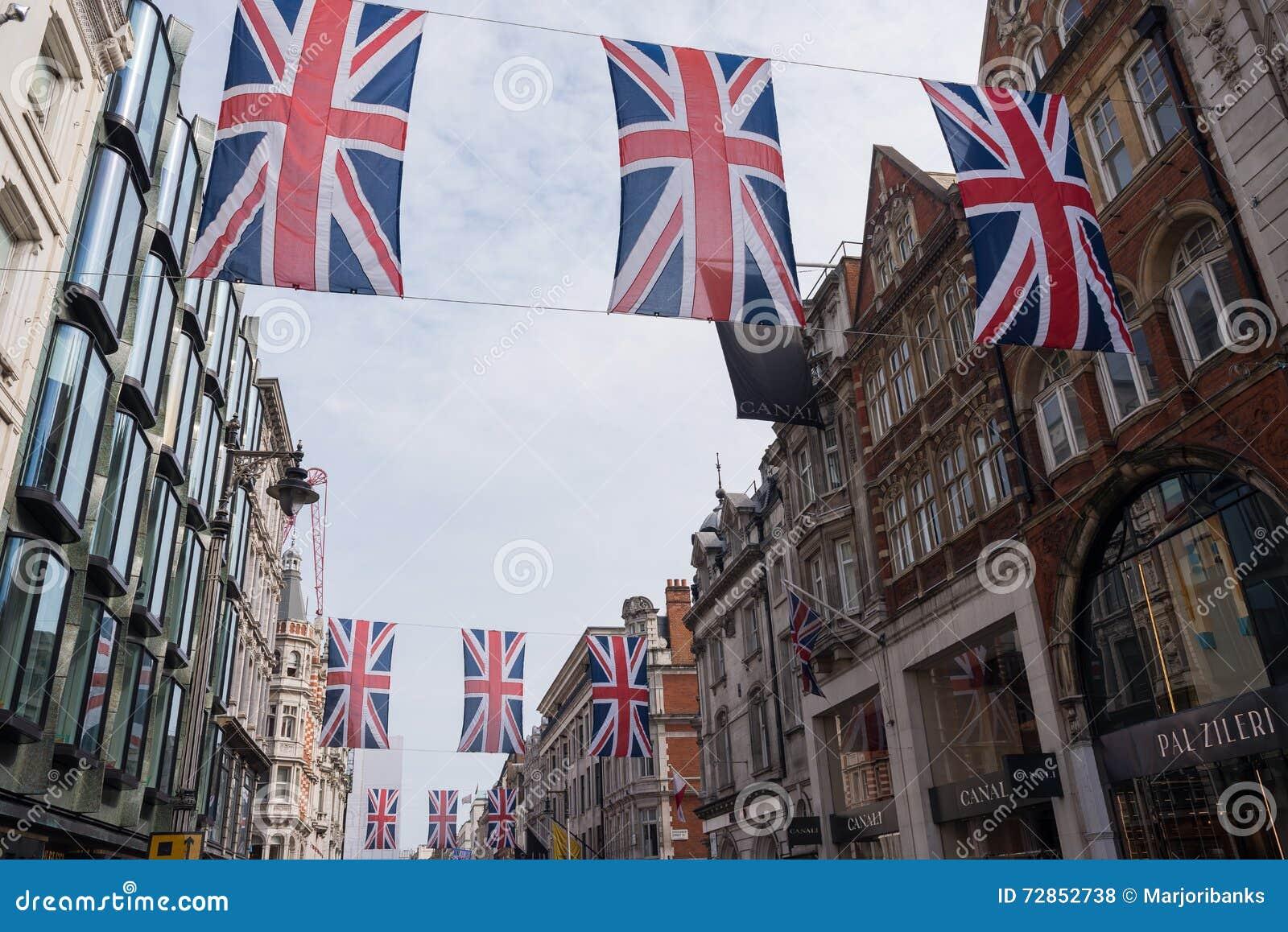 Union Jack flaga chorągiewka w Nowej Niewolnej ulicie, Londyn