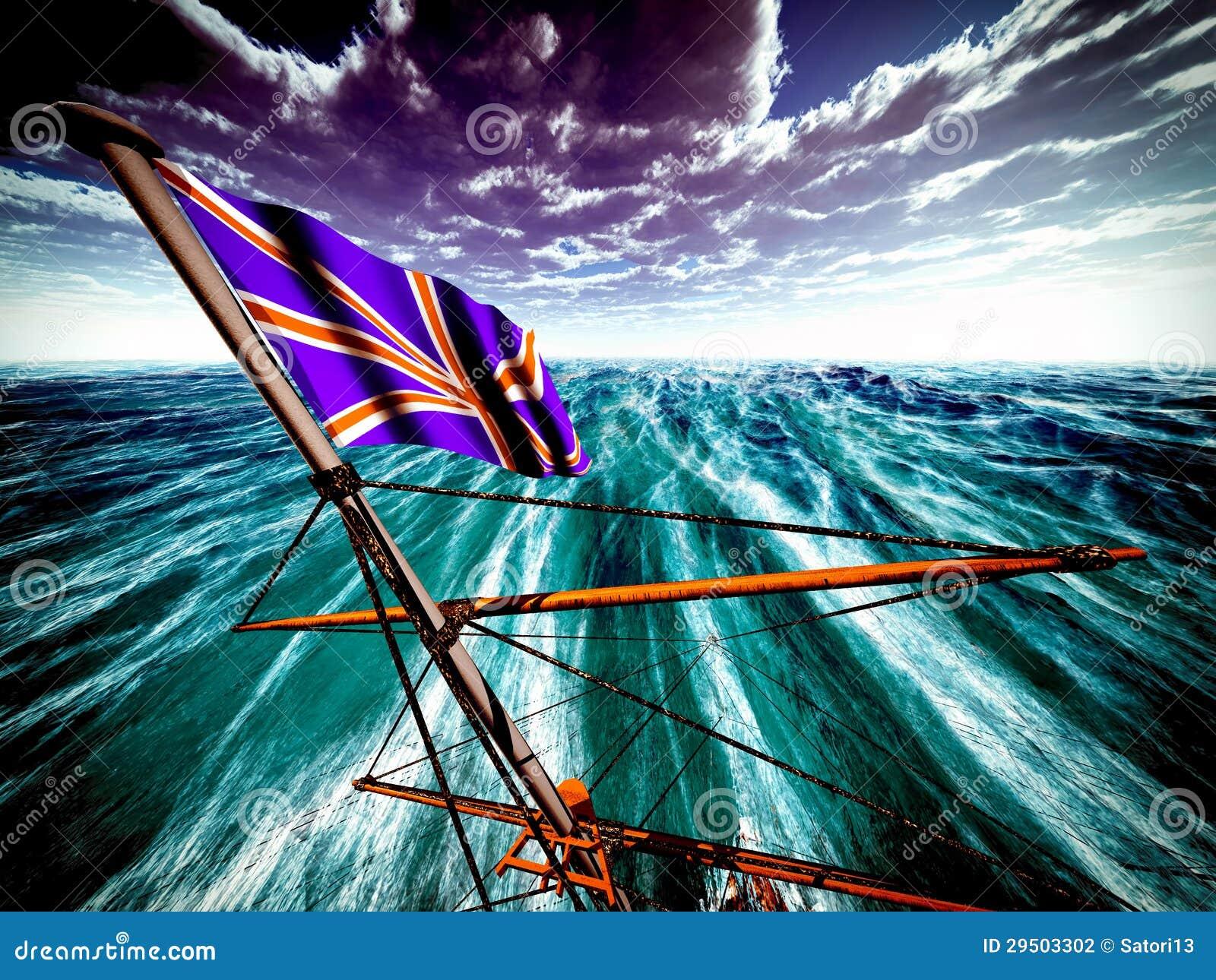 Union Jack over oceaan