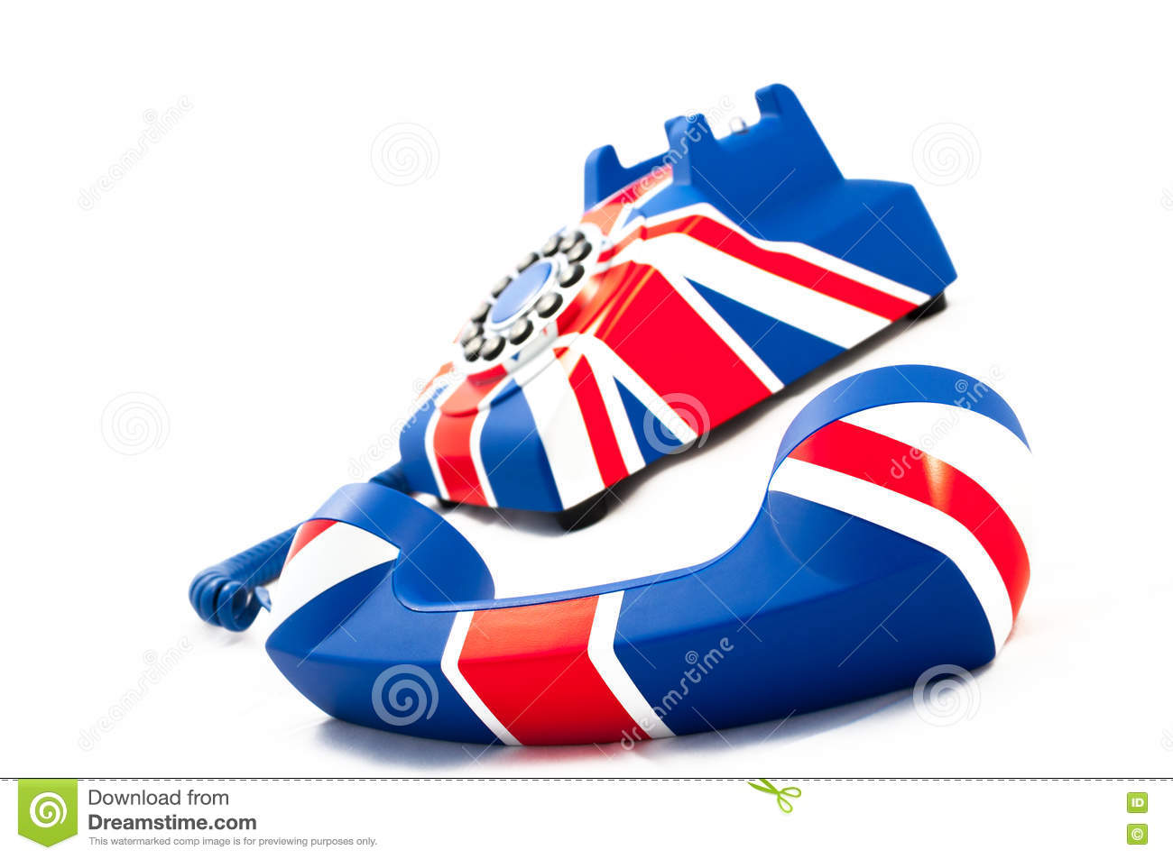 Union Jack telephone with the receiver off the hook laying in front of the phone isolated on the white background.