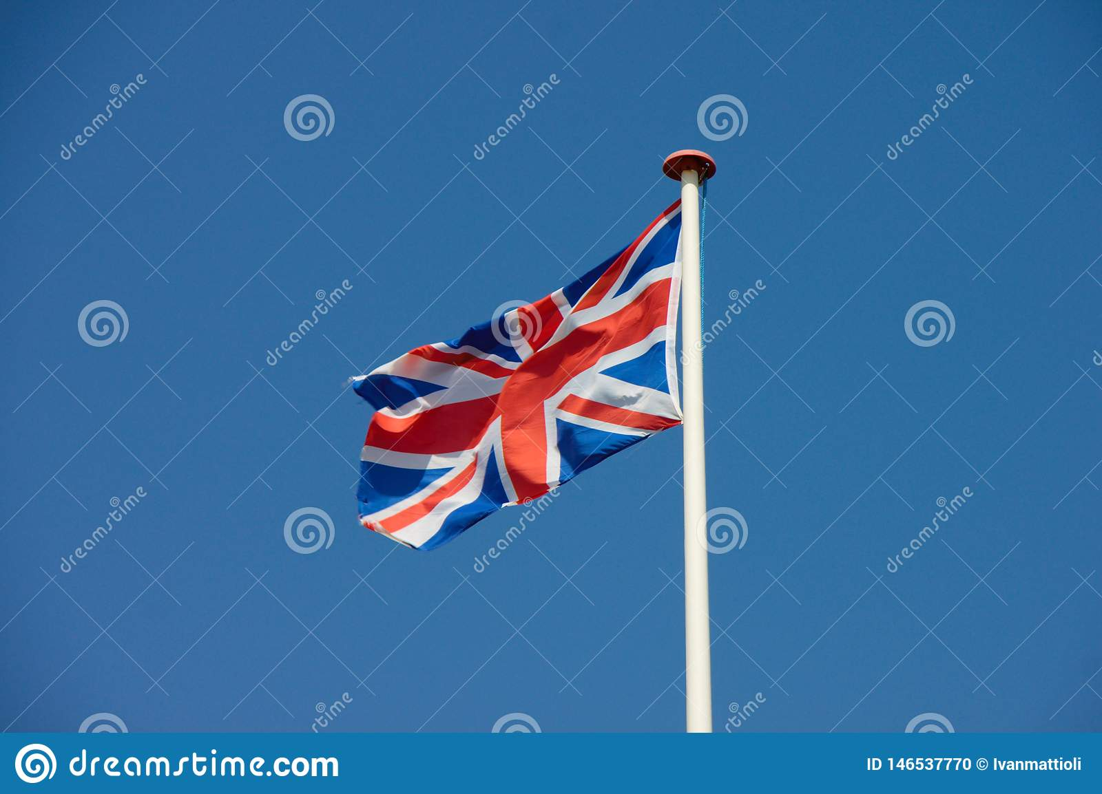 Union Jack, UK flag flapping in the wind