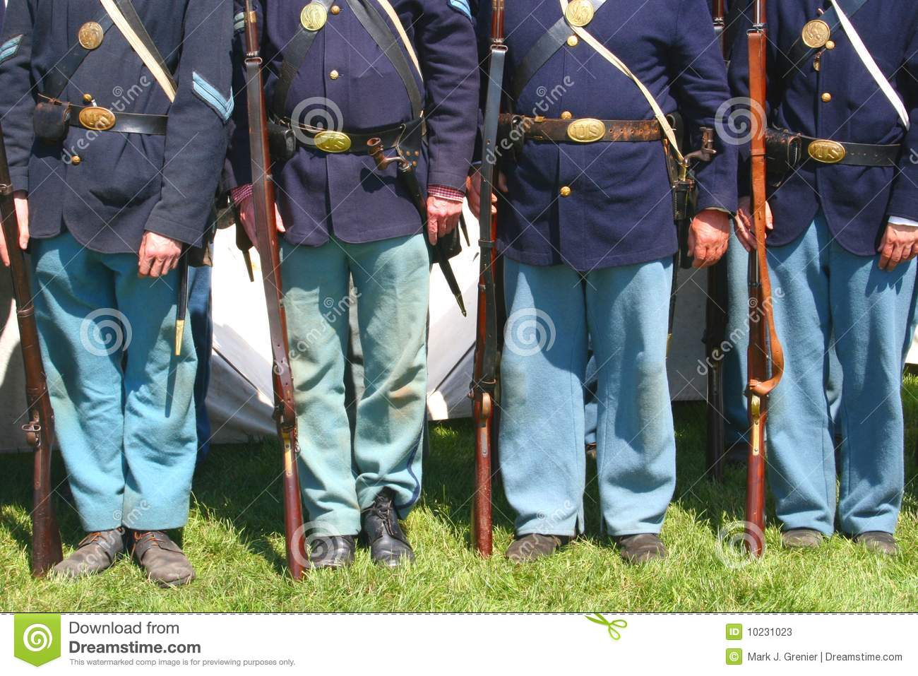 Union Soldiers--Civil War Reenactment Stock Image - Image of
