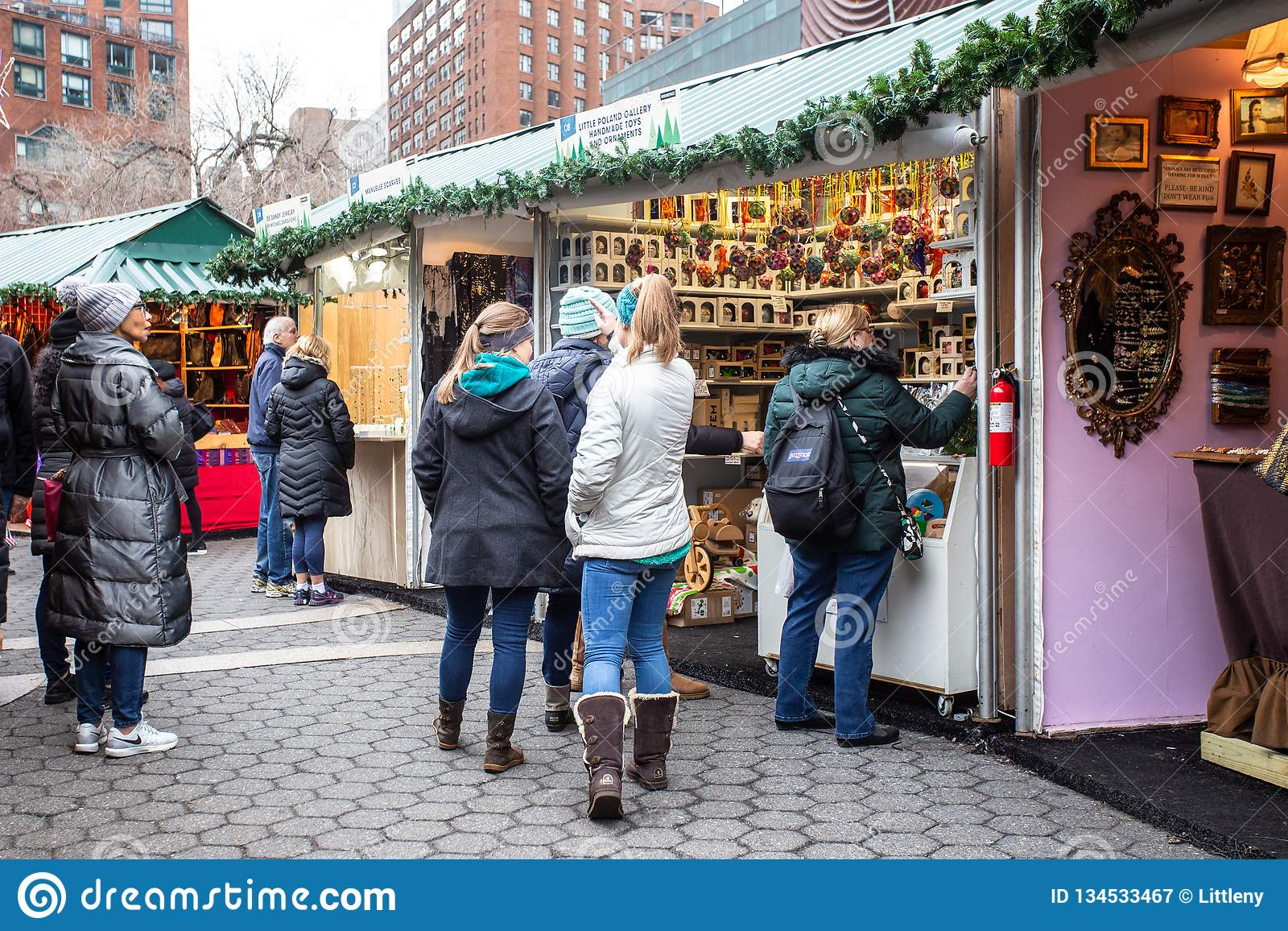 Christmas Market New York City.Union Square Nyc Greenmarket Holiday Market Editorial