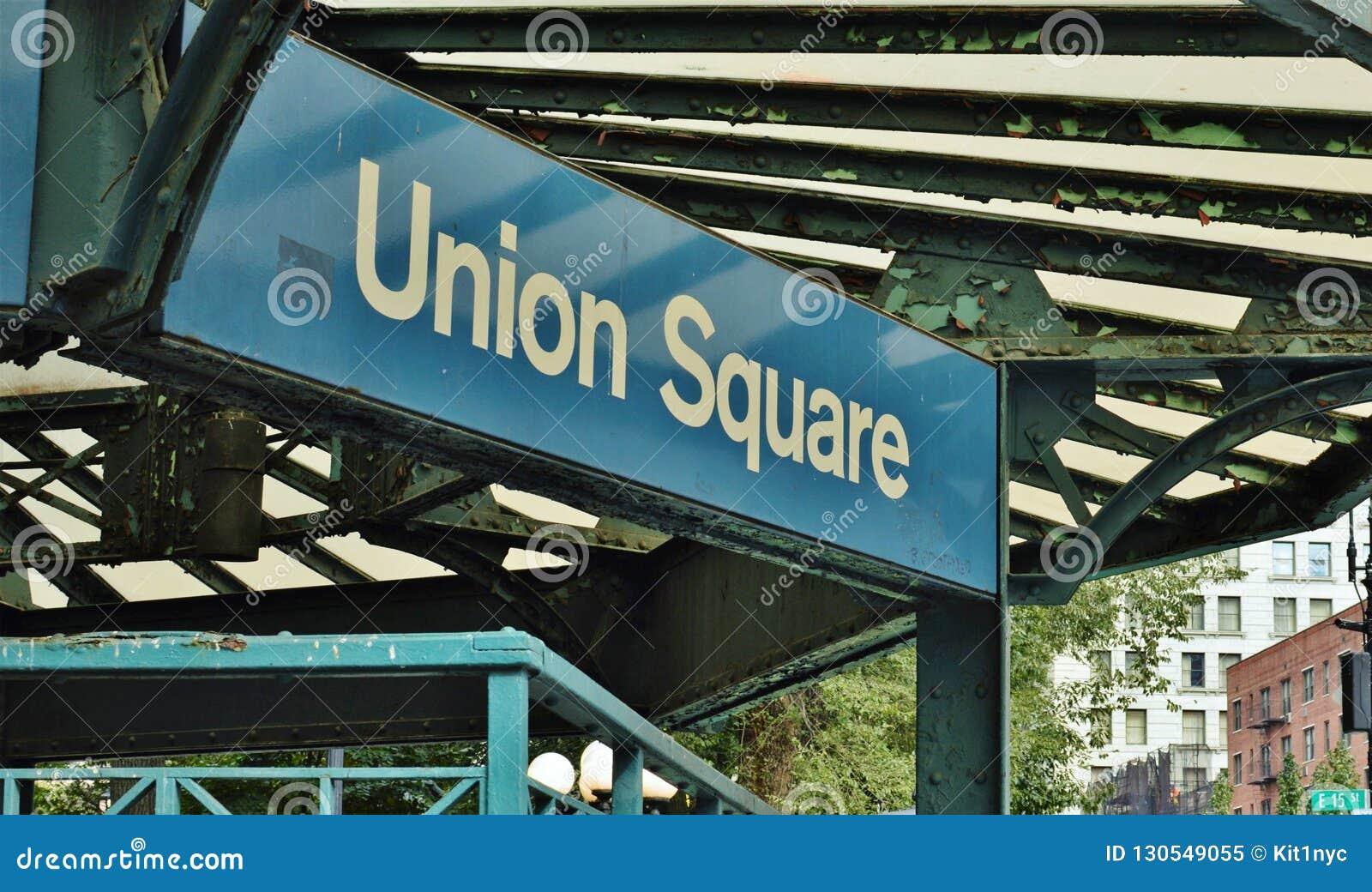 Union Square NYC Sign New York City Streets Manhattan Subway Station