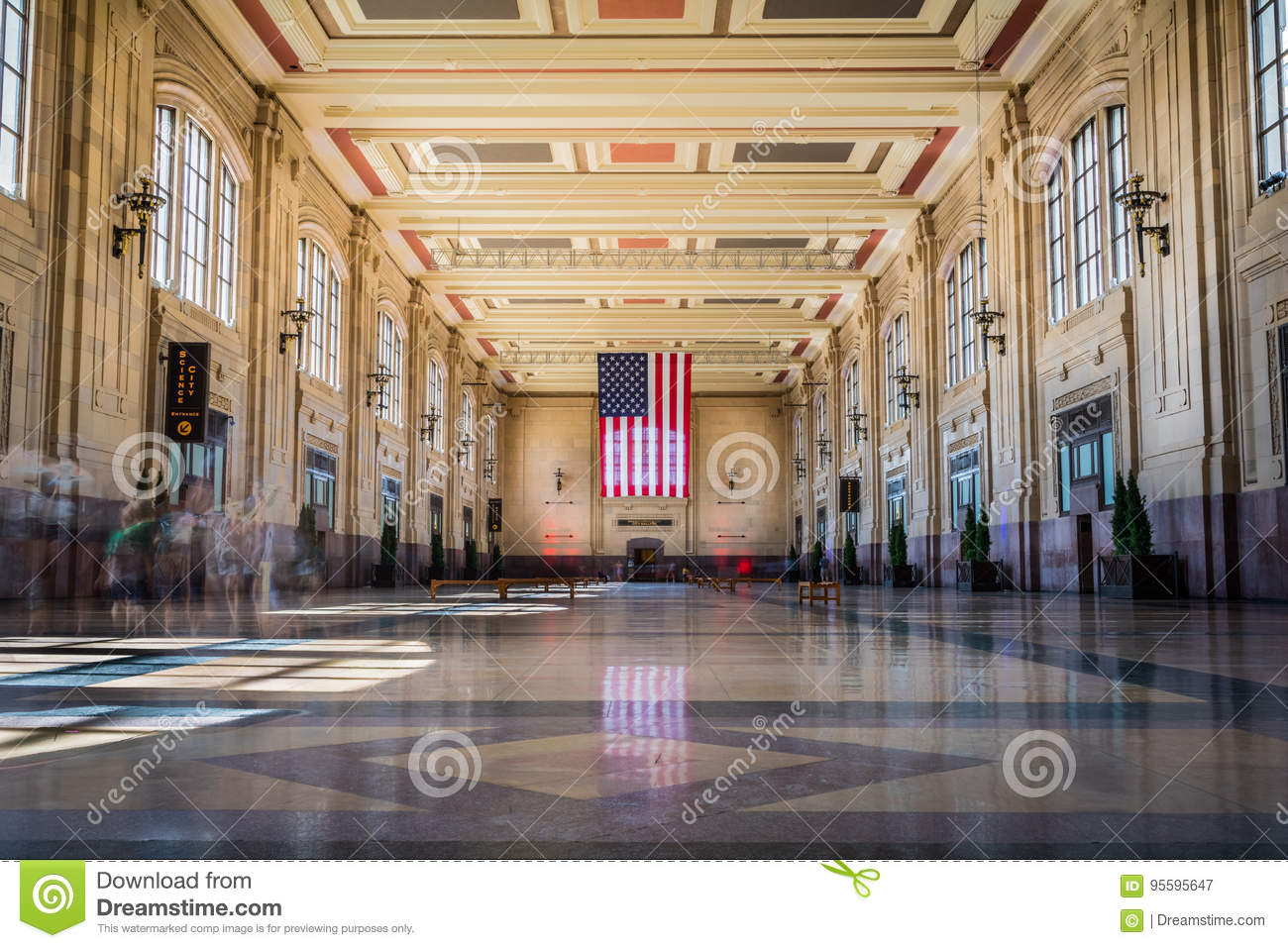 Union Station with American Flag