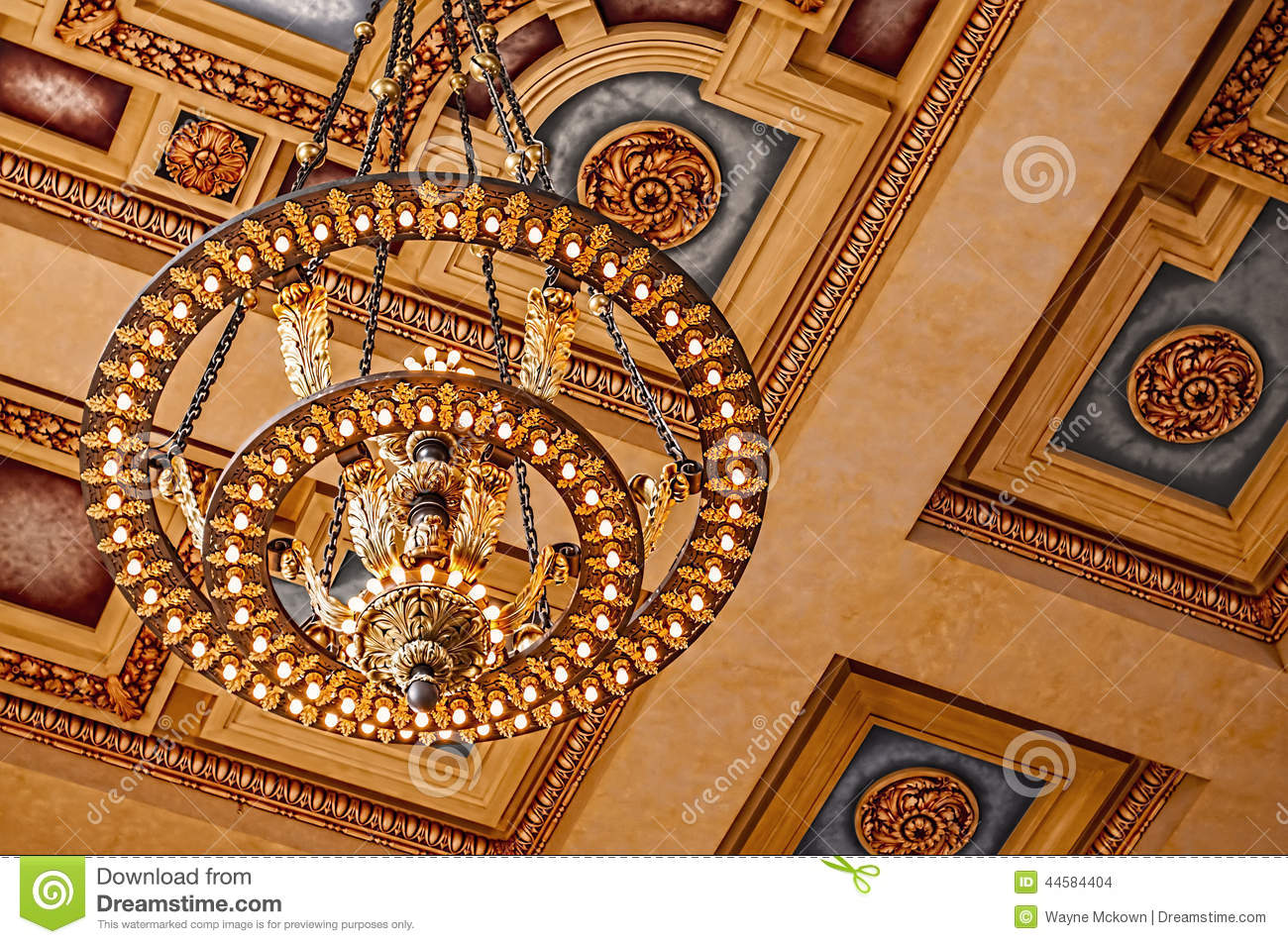 Union Station chandelier and ceiling