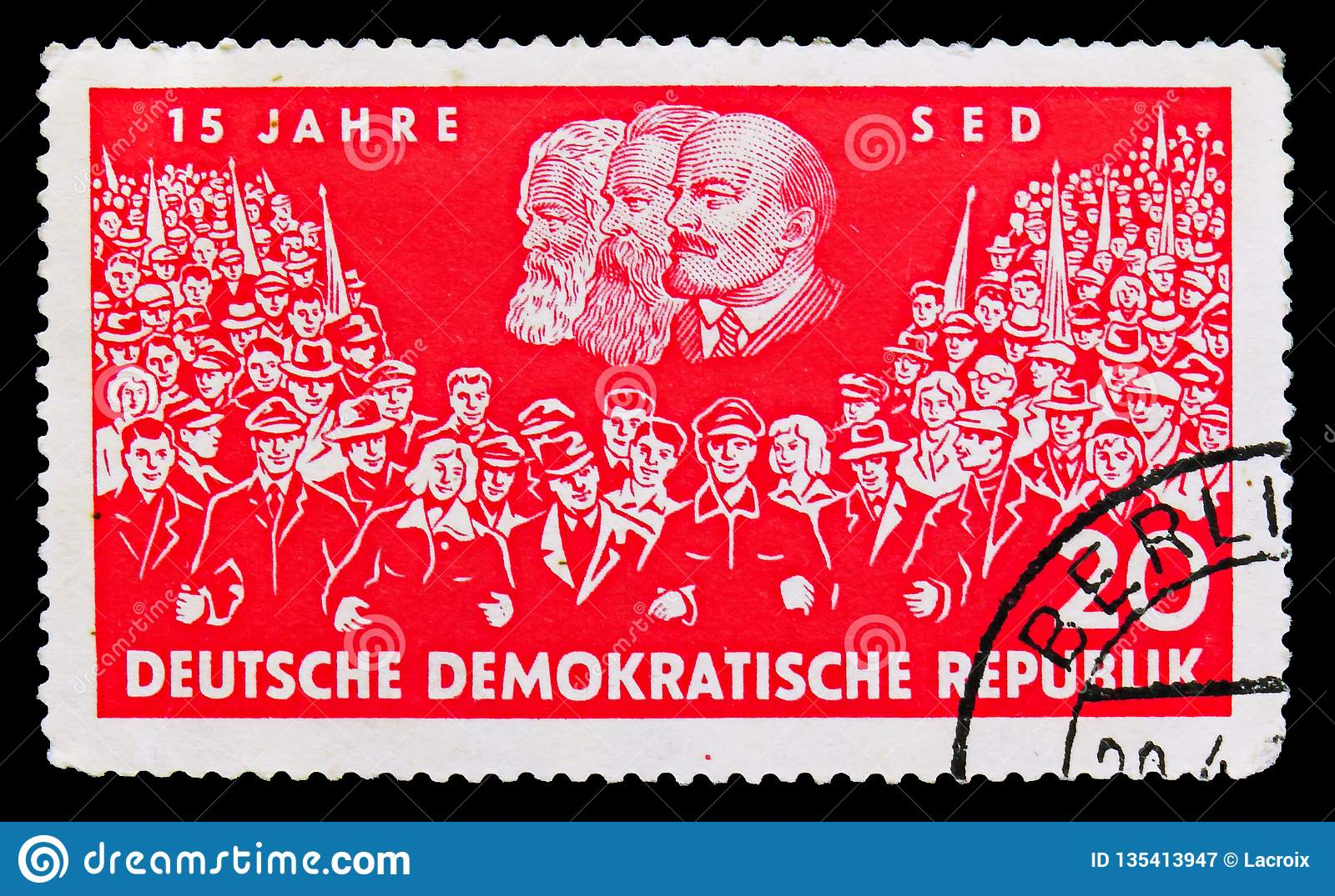 Union of two demonstrations, portraits of Marx, Engels and Lenin, 15 years Socialist Unity Party of Germany (SED) serie, circa