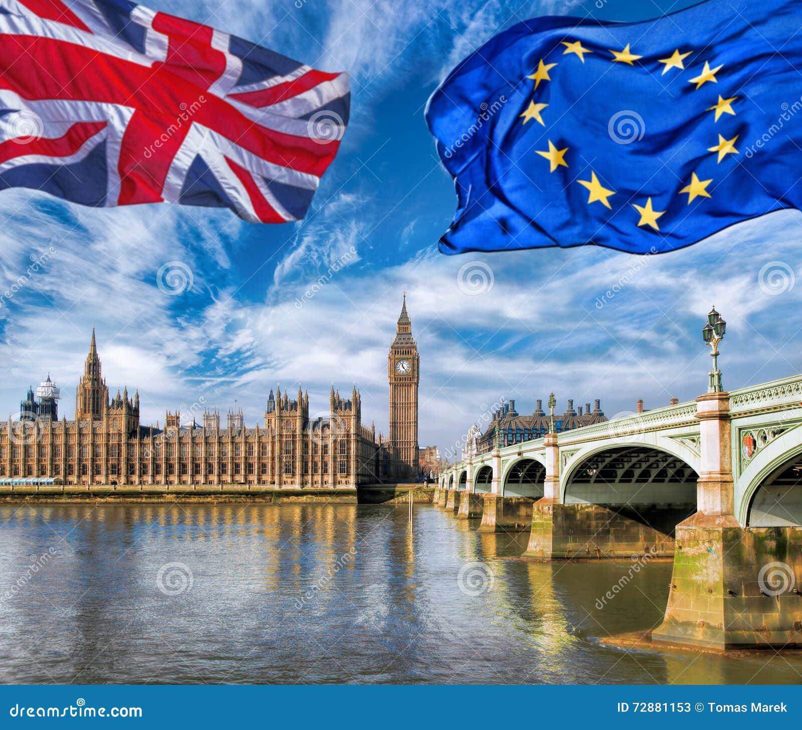 Unione Europea E Volo Britannico Della Bandiera Del Sindacato Contro ...