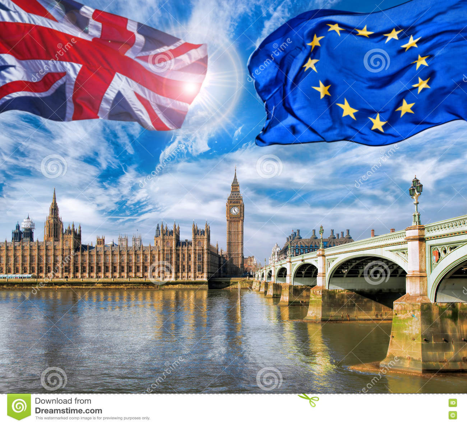 Unione Europea E Volo Britannico Della Bandiera Del ...