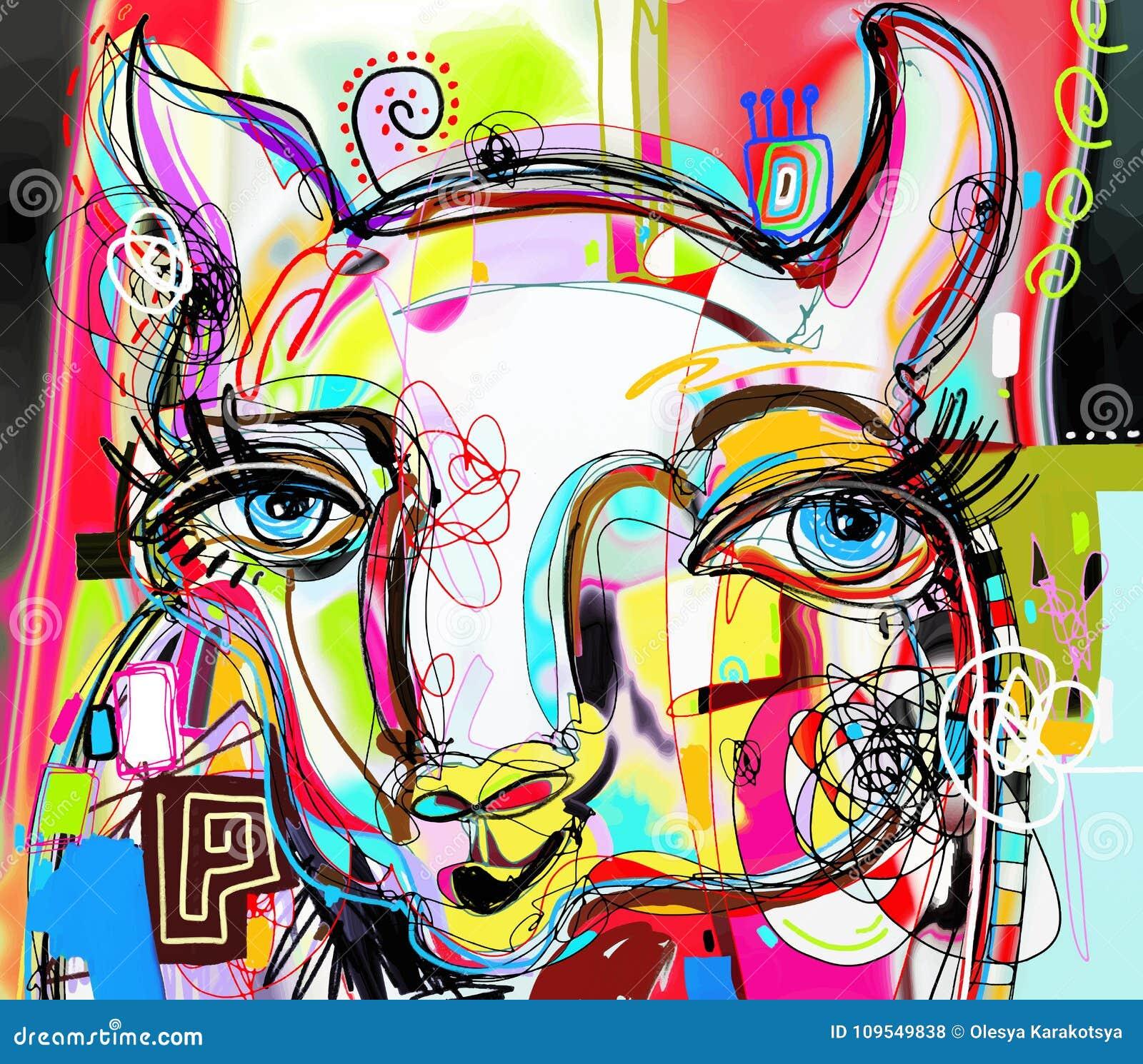 Unique Abstract Digital Art Painting Of Llama Portrait Stock Vector Illustration Of Creativity Graphic 109549838