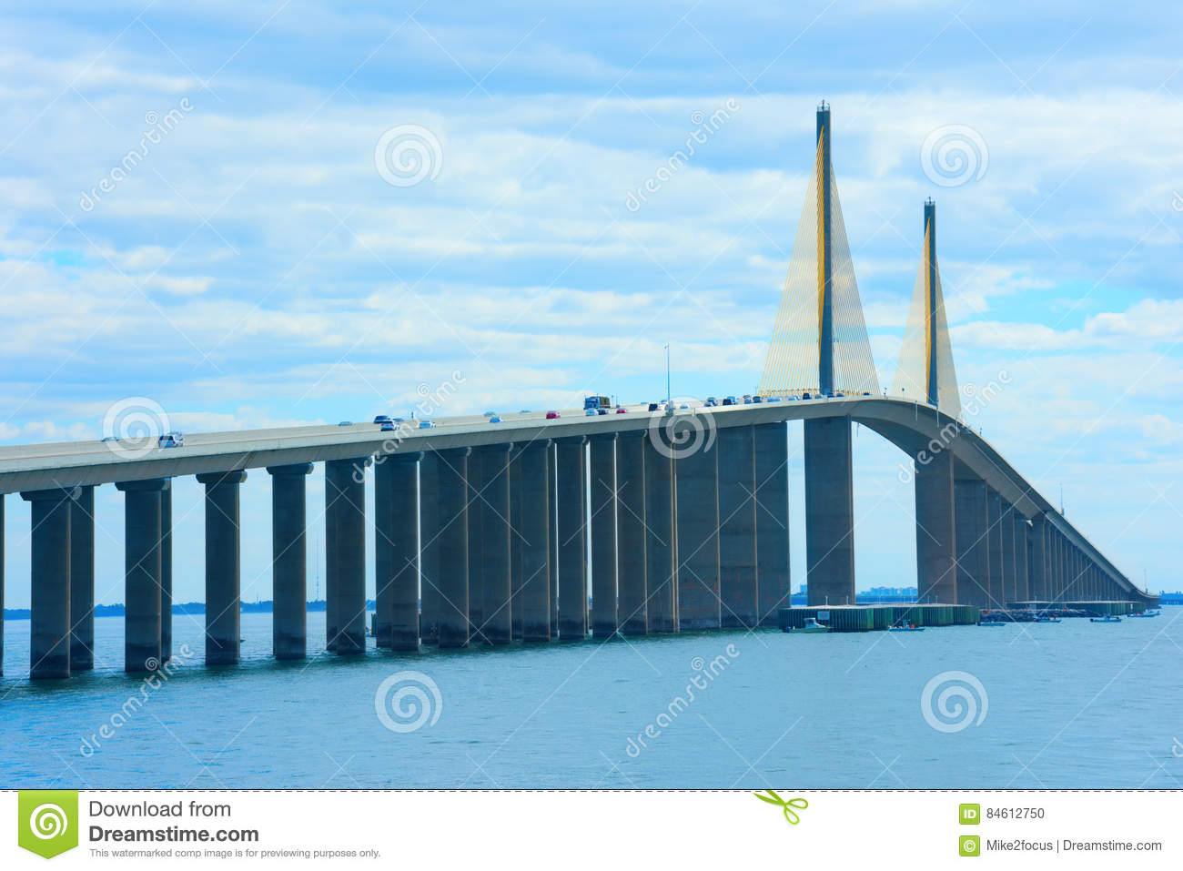 Unique angle of Sunshine Skyway Bridge over Tampa Bay Florida