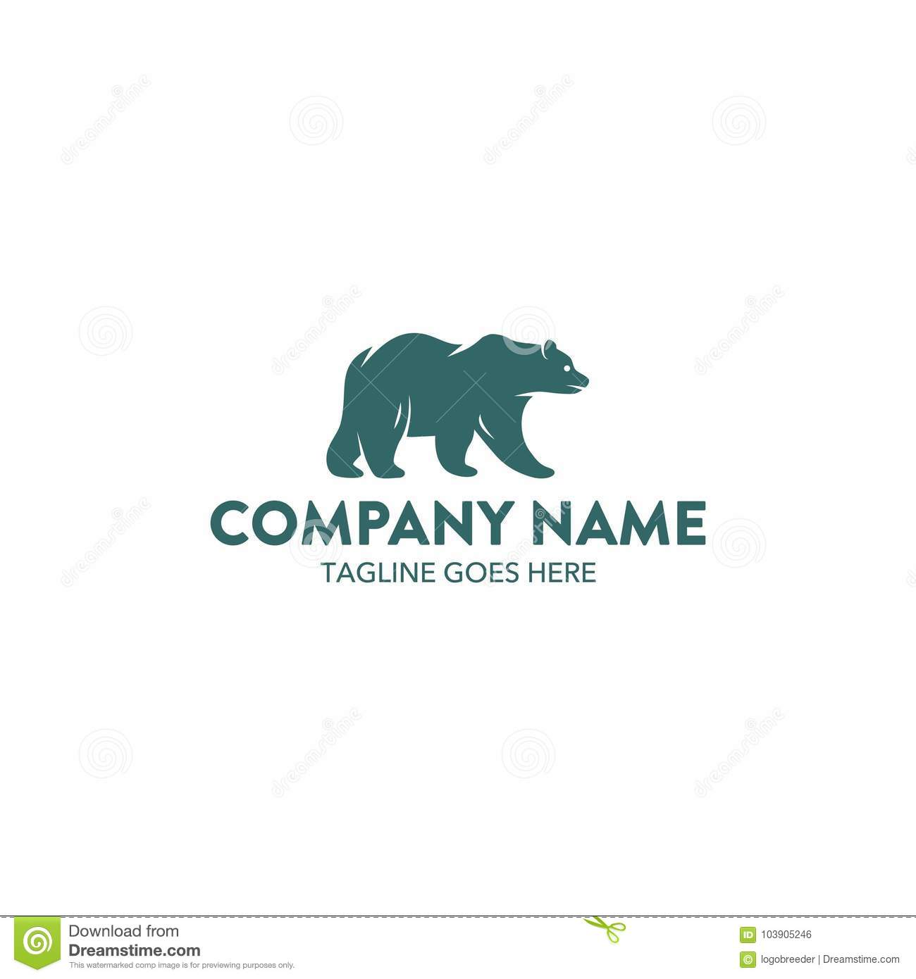 unique bear logo template vector editable stock vector