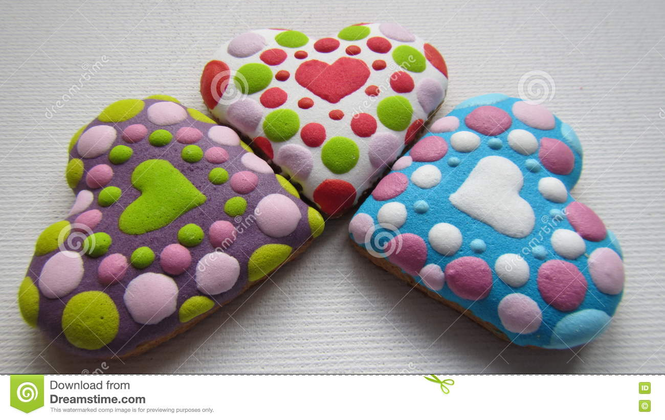 Unique Christmas Cookies In The Shape Of Heart Stock Photo Image
