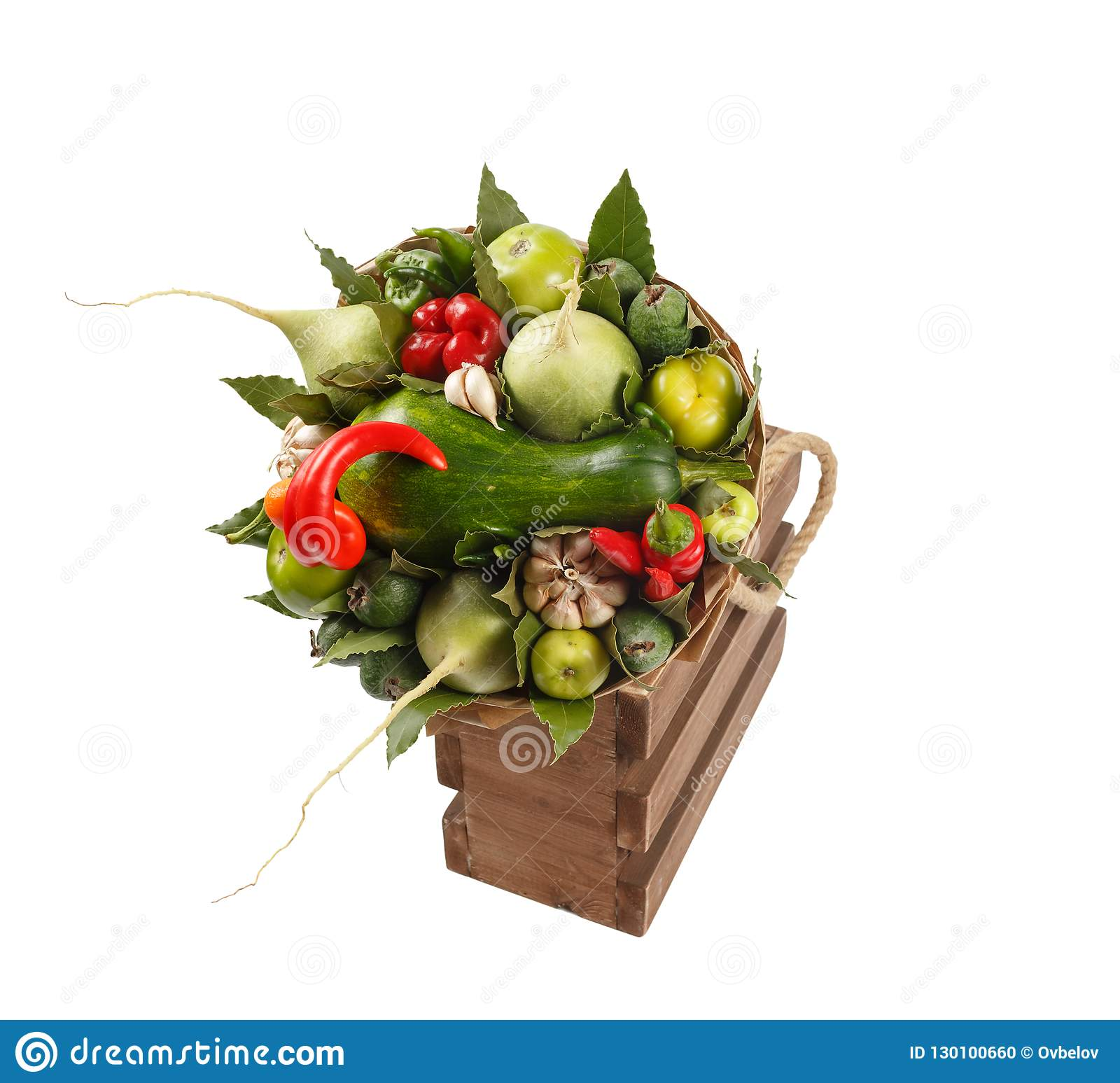 Unique Colorful Bouquet Of Vegetables And Fruits In A Wooden Box As A Gift On A White Background Stock Photo Image Of Holiday Isolated 130100660