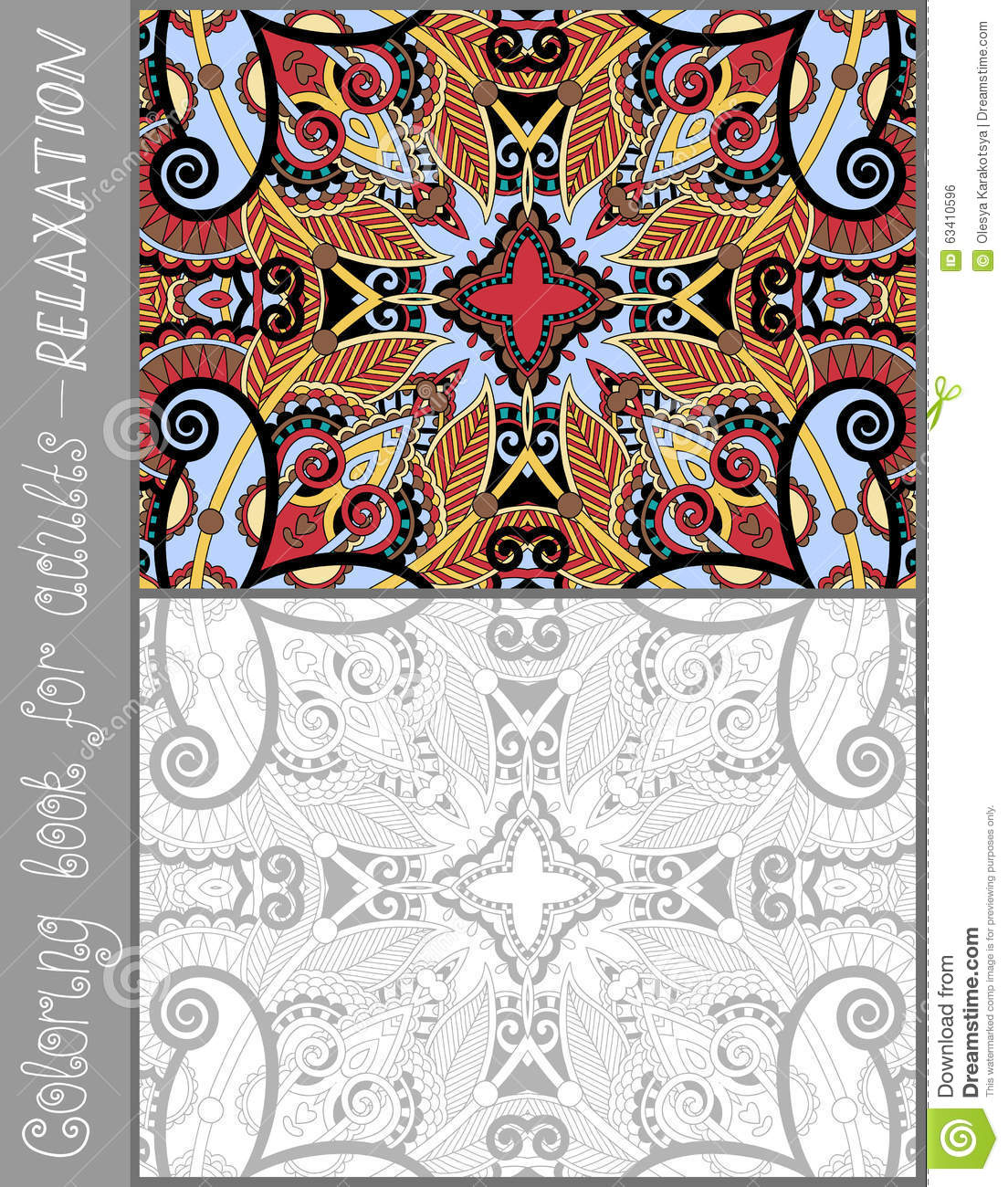 Unique Coloring Book Page For Adults - Flower Stock Vector ...