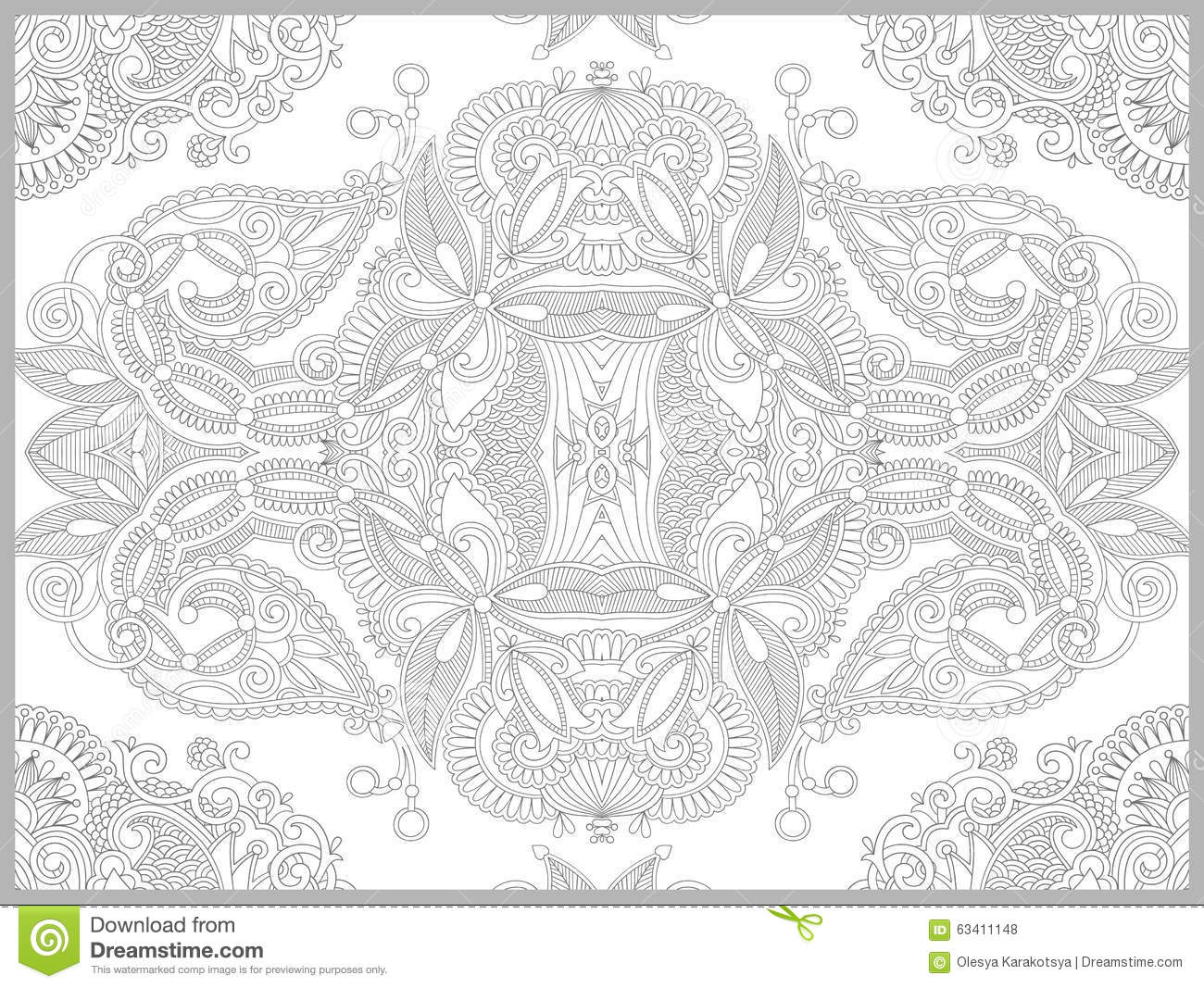 Unique Coloring Book Page For Adults Flower Stock Vector