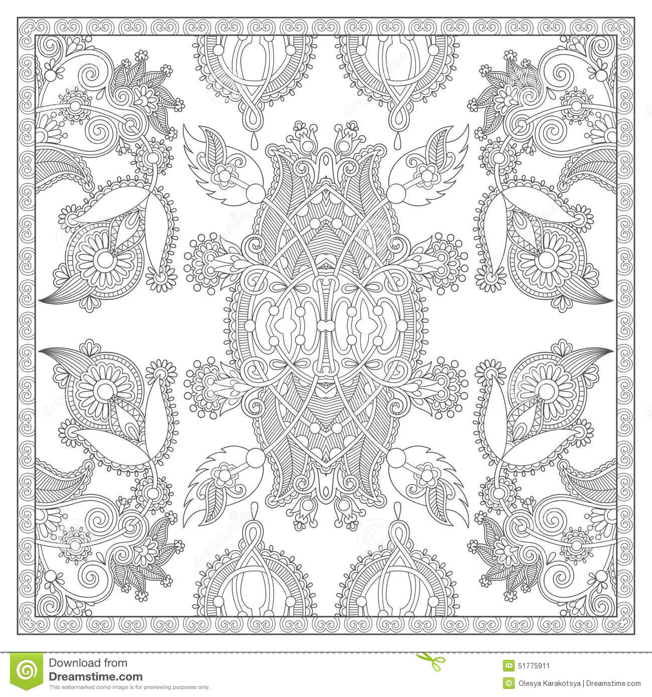 Unique Coloring Book Square Page For Adults Stock Vector ...