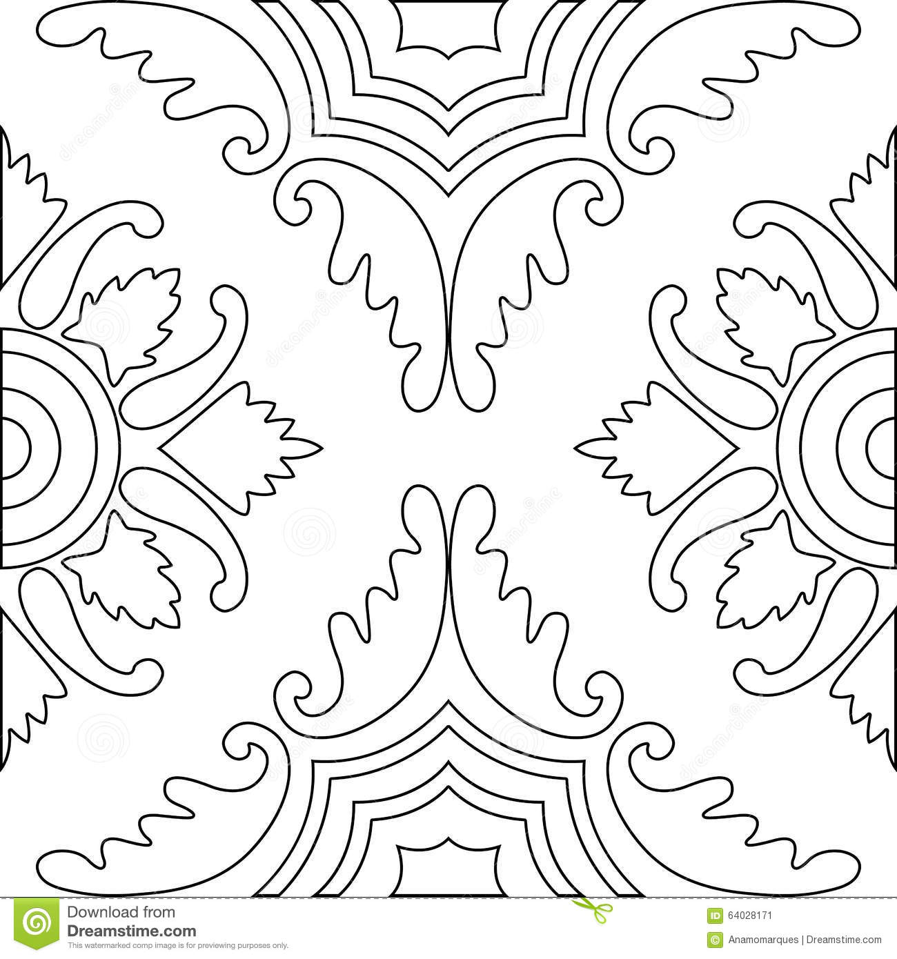 Unique Coloring Book Square Page For Adults - Seamless Pattern Stock ...