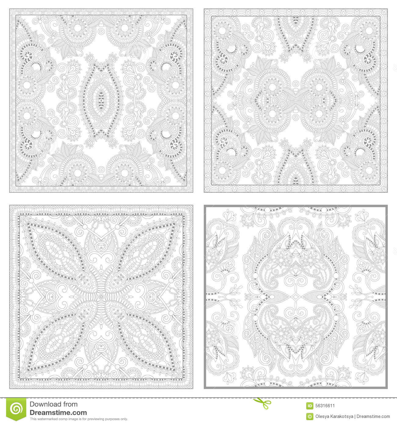Unique Coloring Book Square Page Set For Adults Stock Vector