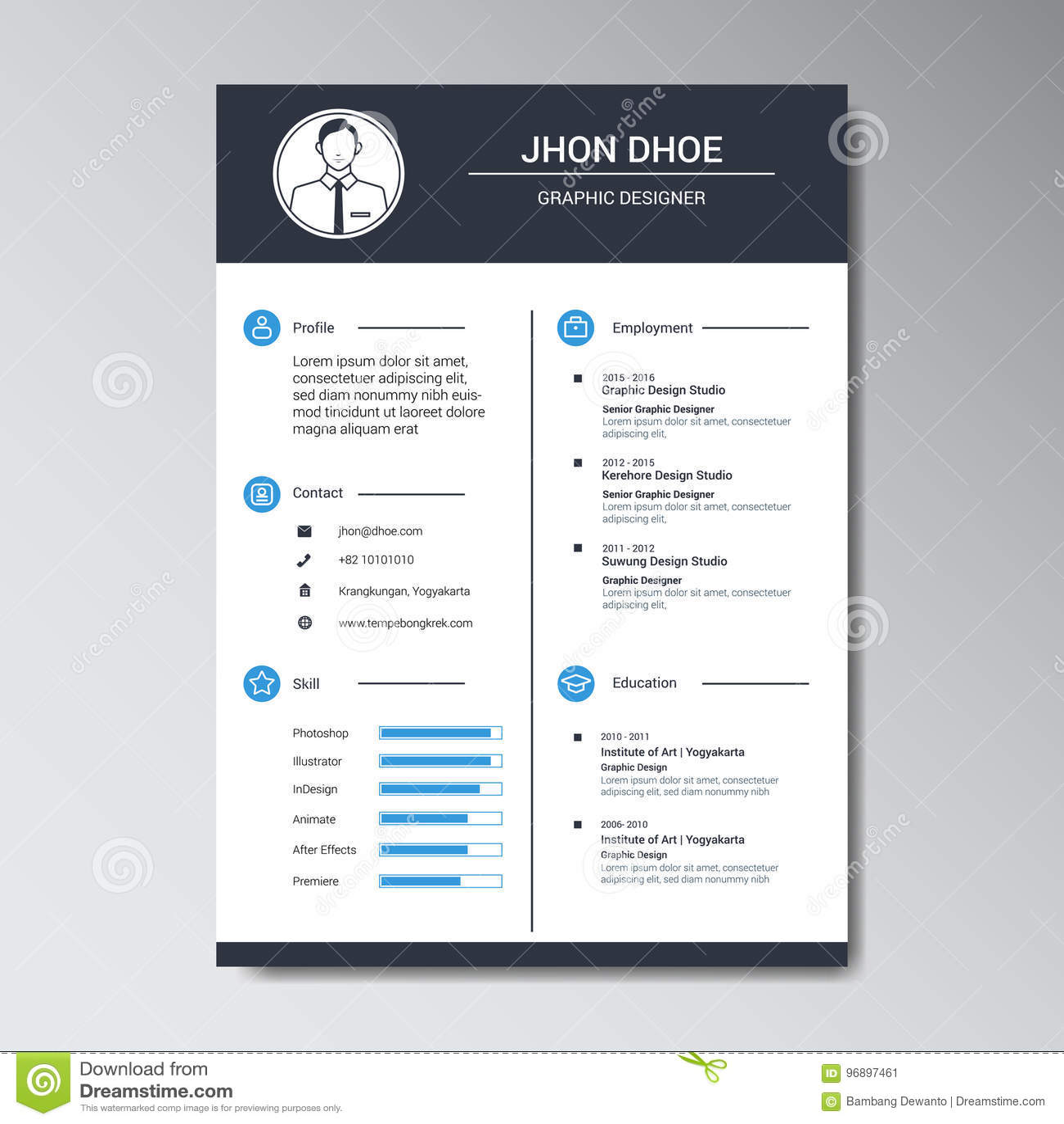 unique flat color curriculum vitae design template stock
